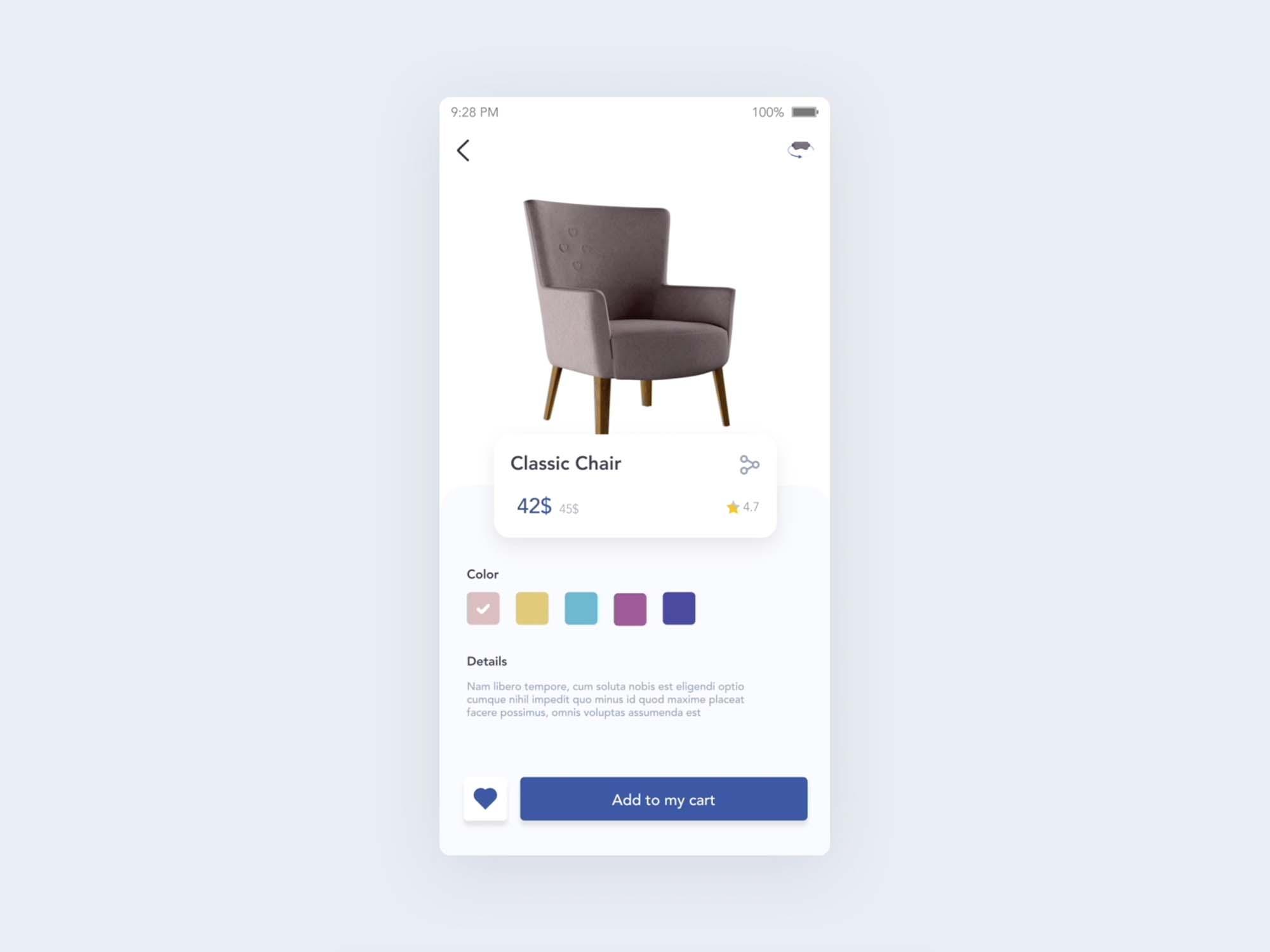 Furniture Store App UI Template 3