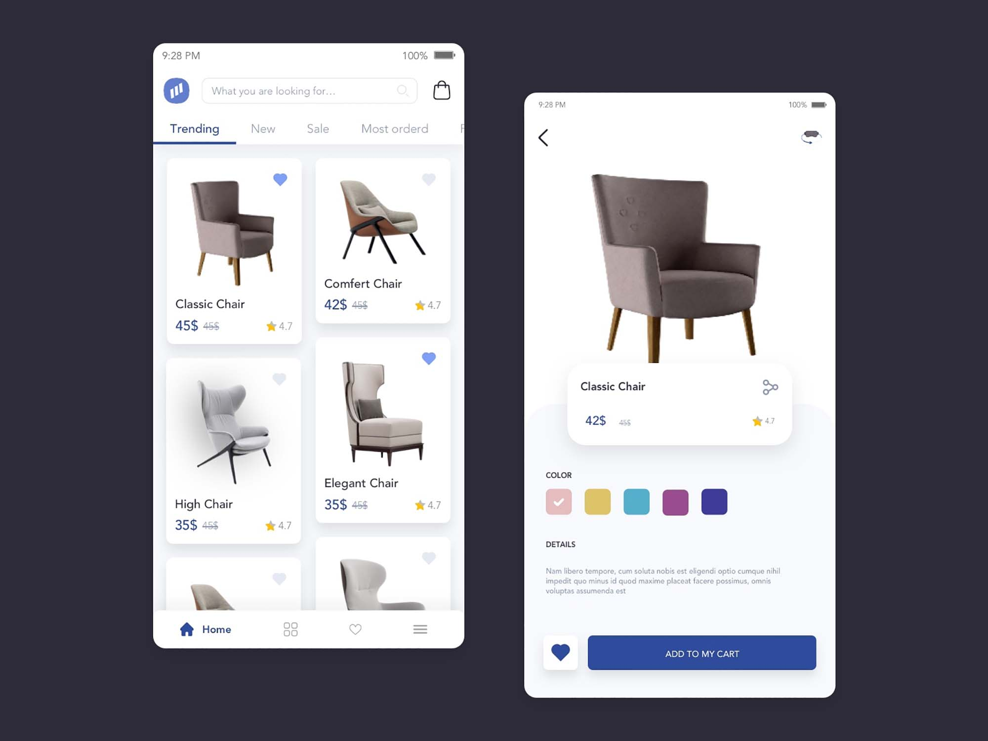 Furniture Store App UI Template 4