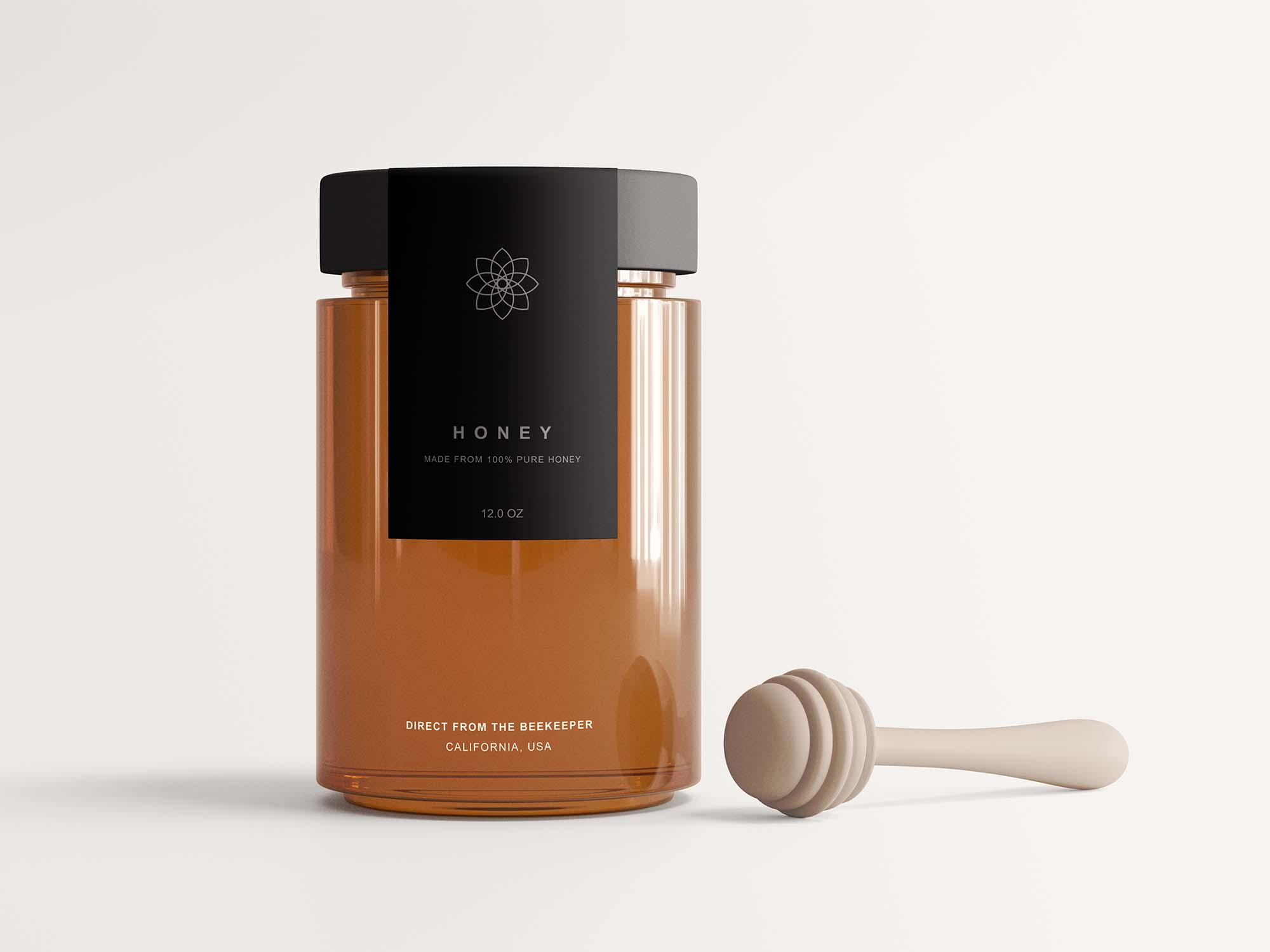 Honey Jar with Spinner Mockup