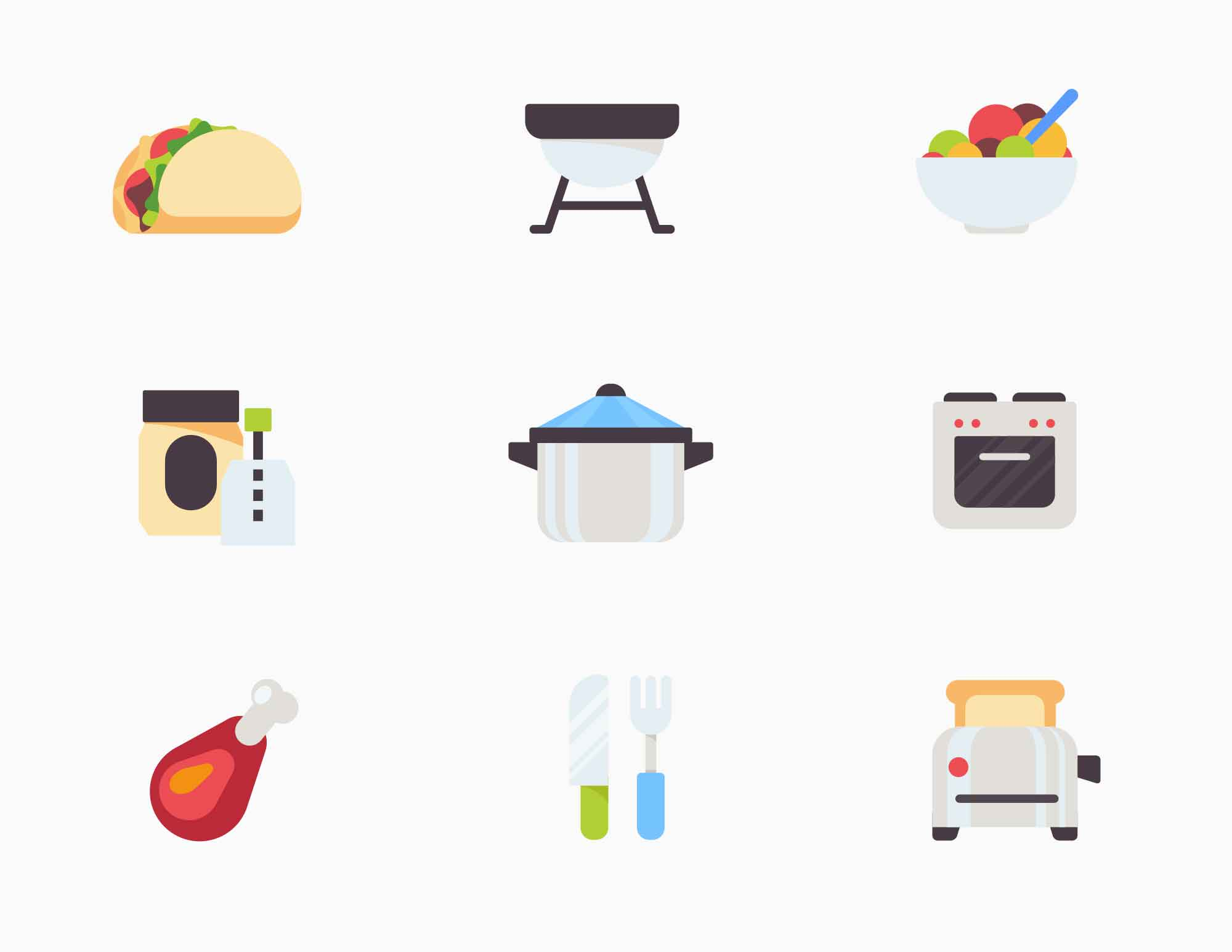 Kitchen-Food Vector Icons