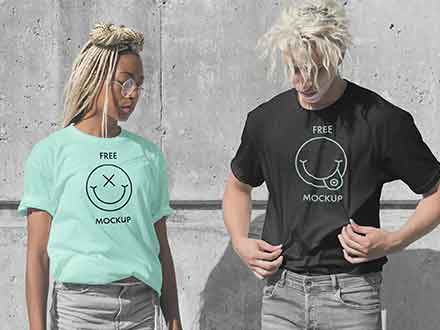 Male Female T-Shirts Mockup