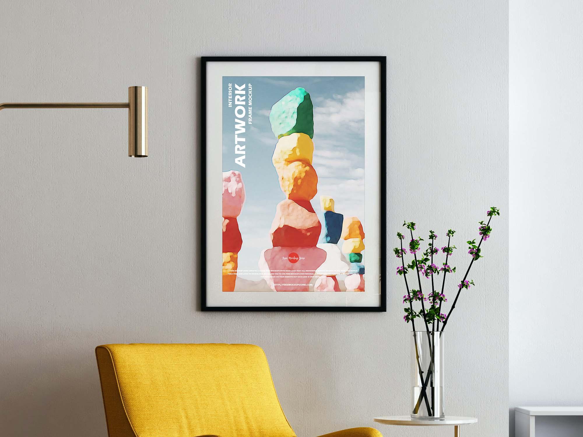 Modern Interior Artwork Frame Mockup 2