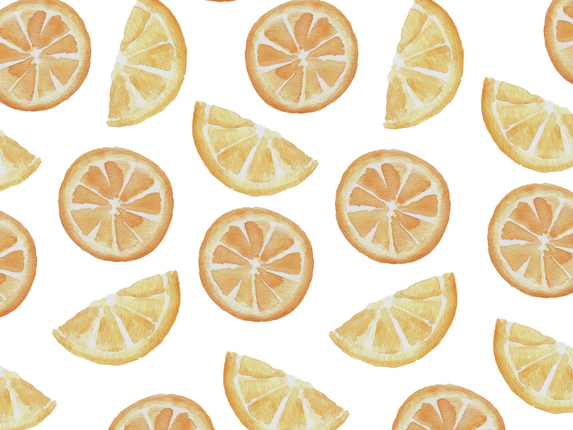 Orange Fruit Watercolor Clipart Patterns 1