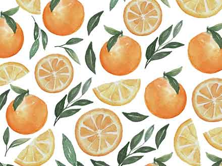 Orange Fruit Watercolor Clipart Patterns