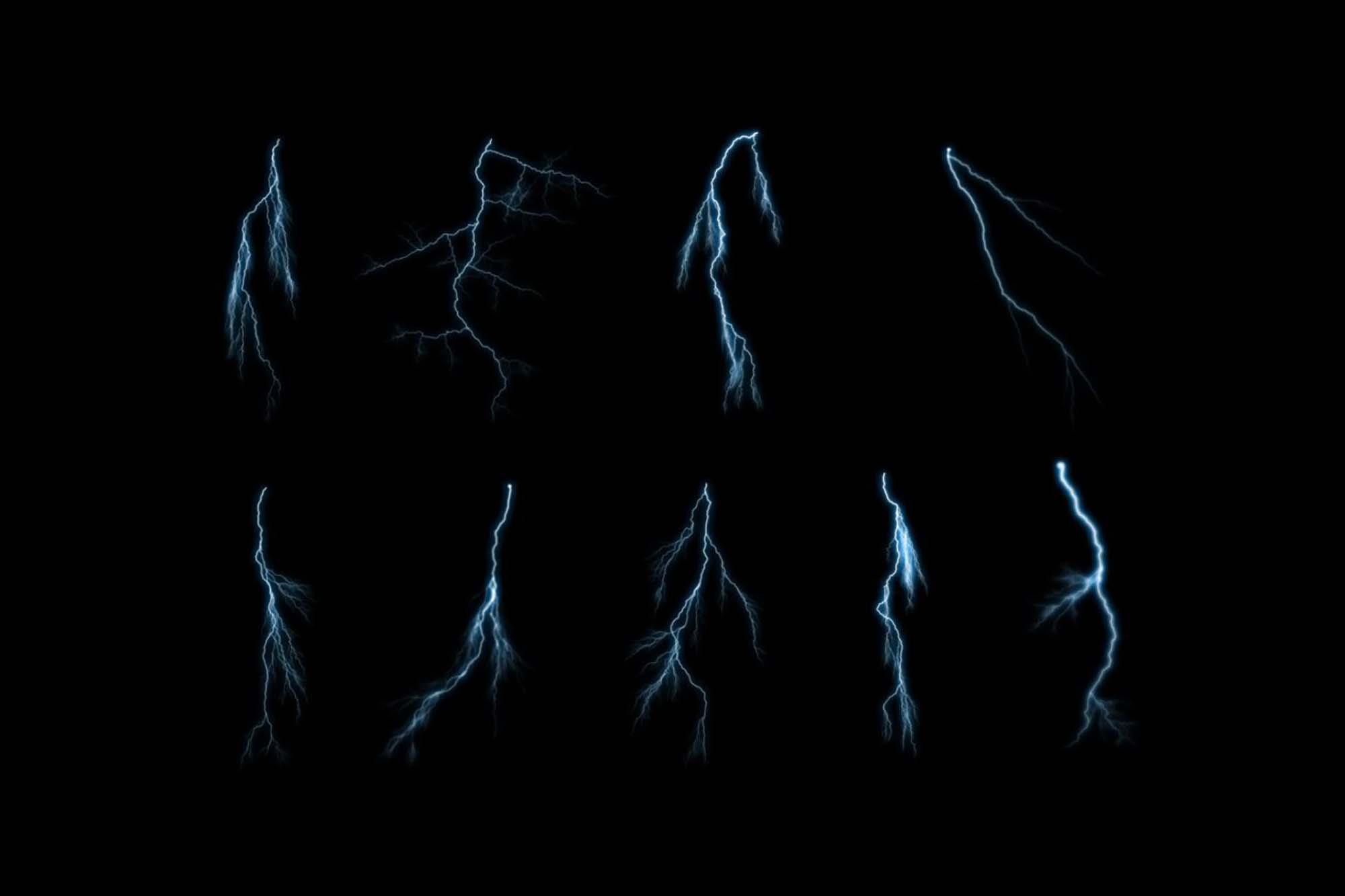 Thin Lightning Photoshop Brushes 2