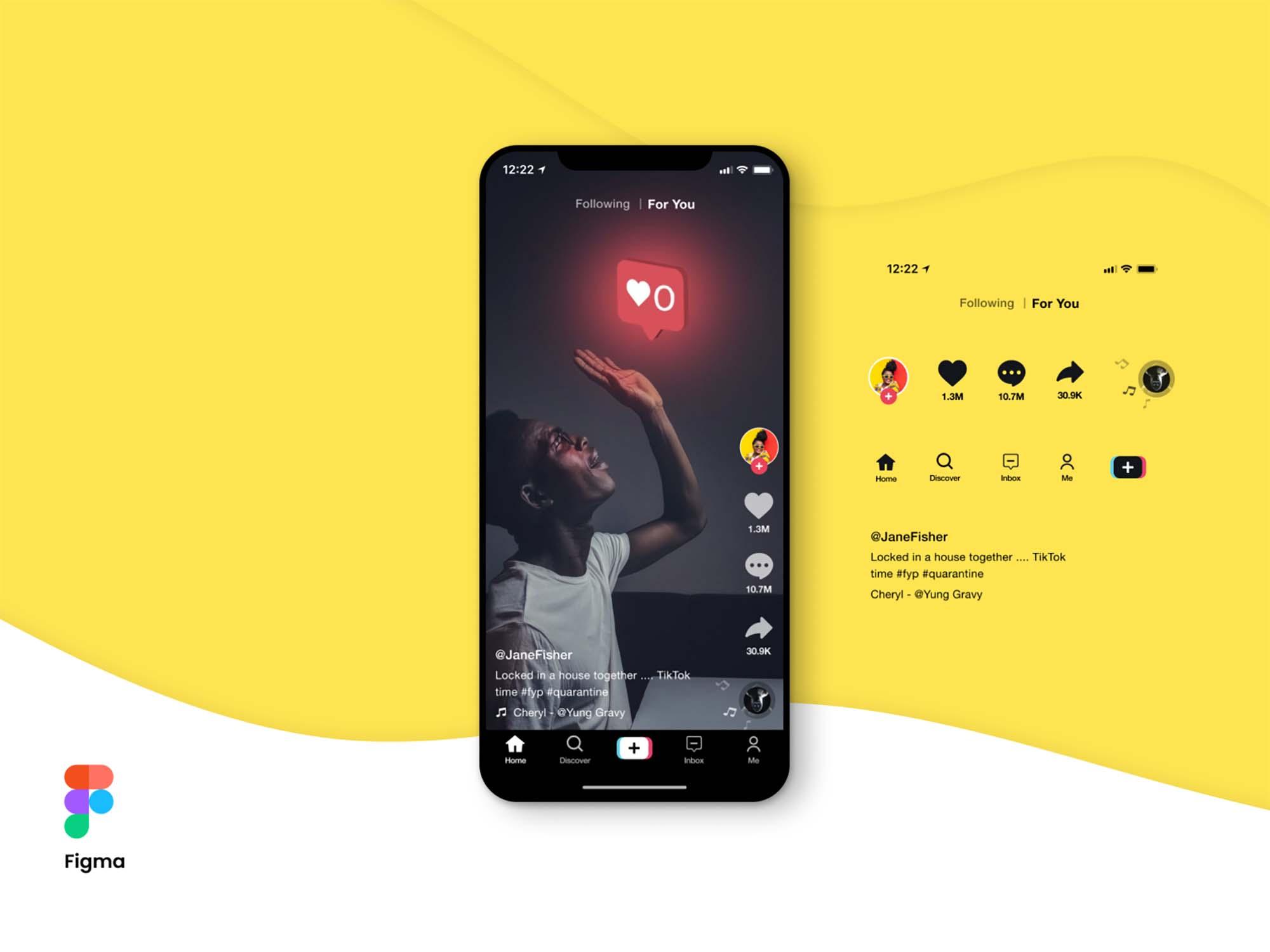 TikTok Screen UI Mockup