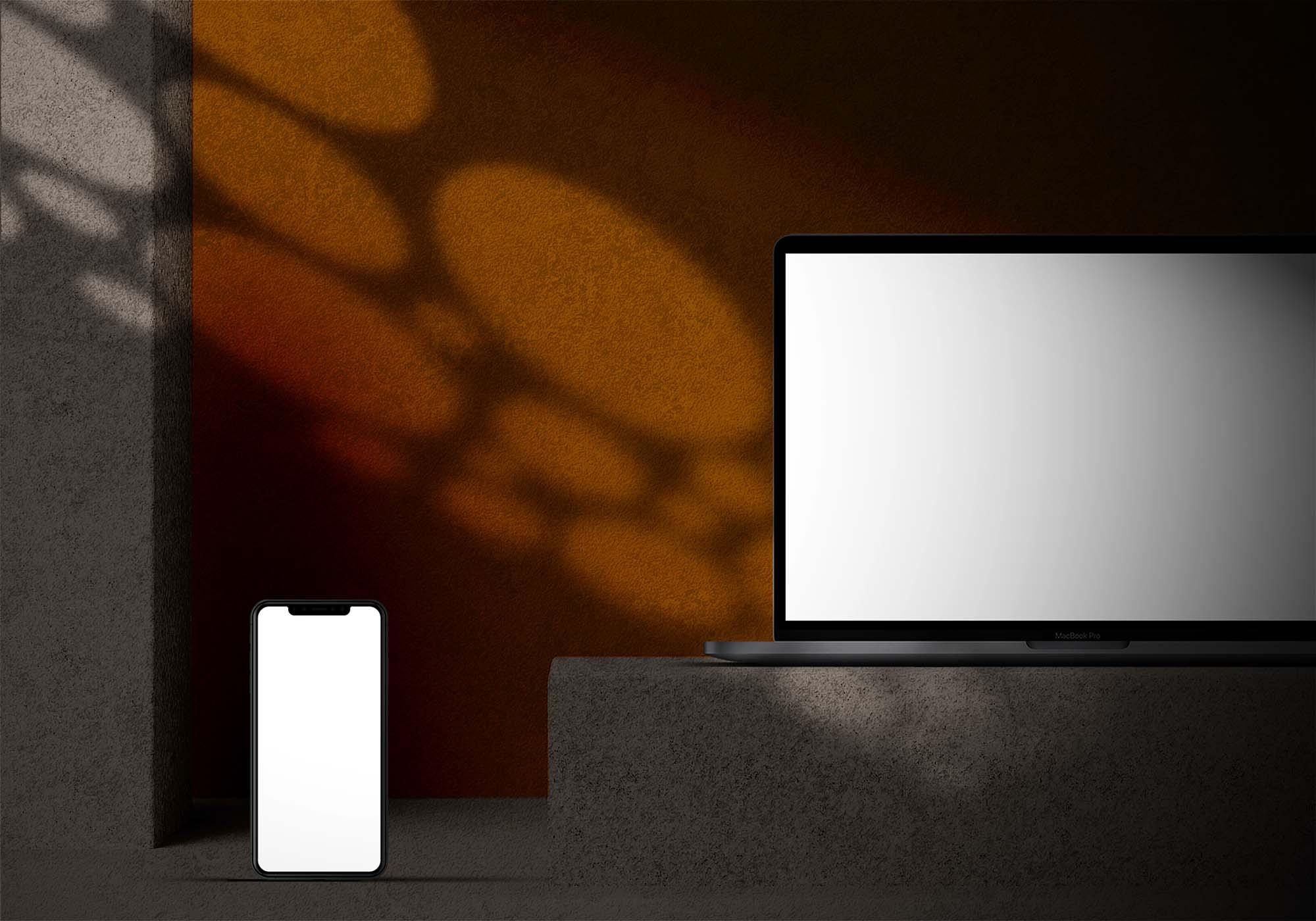Apple Devices in Dark Mode Mockup 2