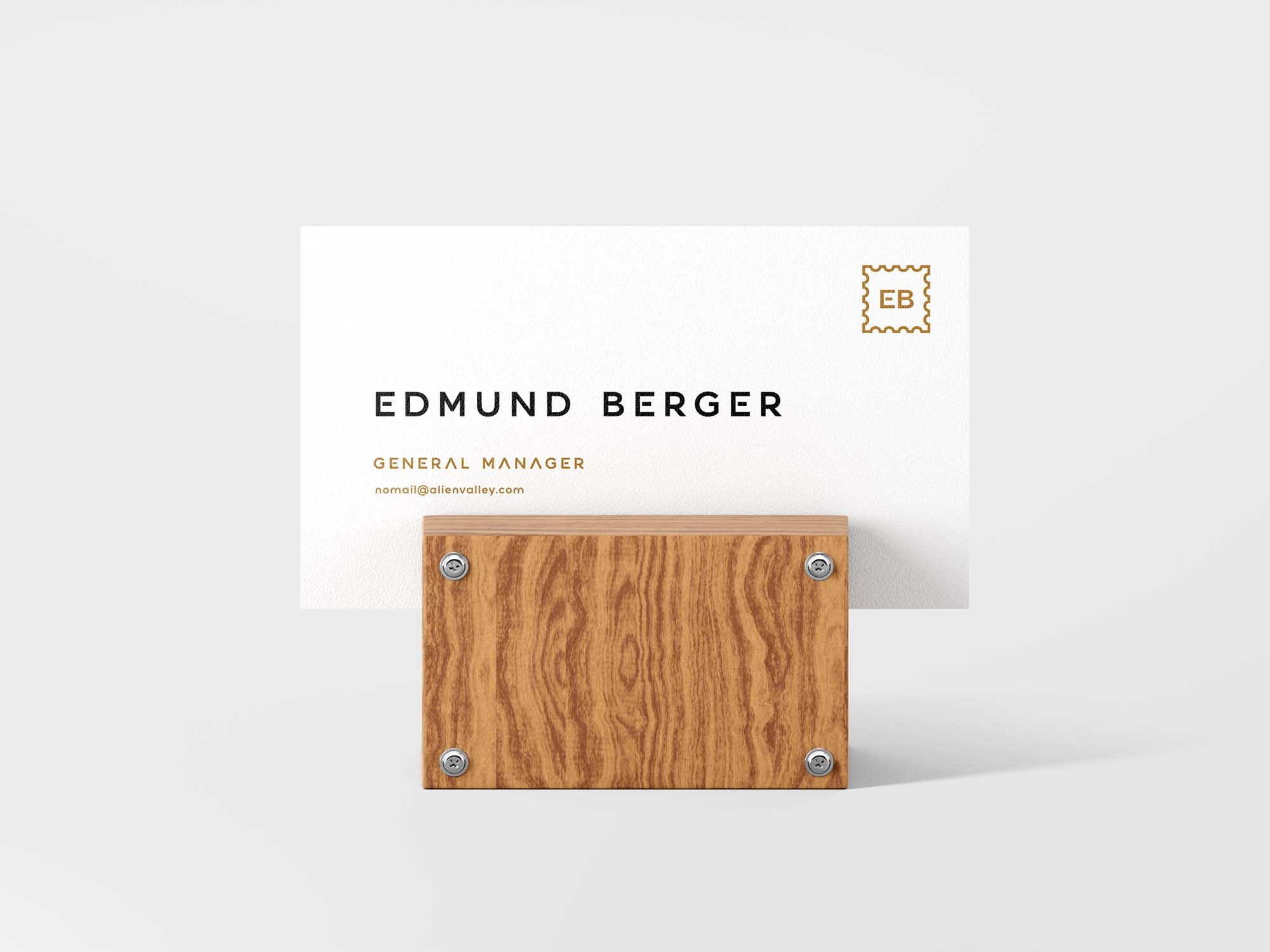 Business Card with Wooden Support Mockup