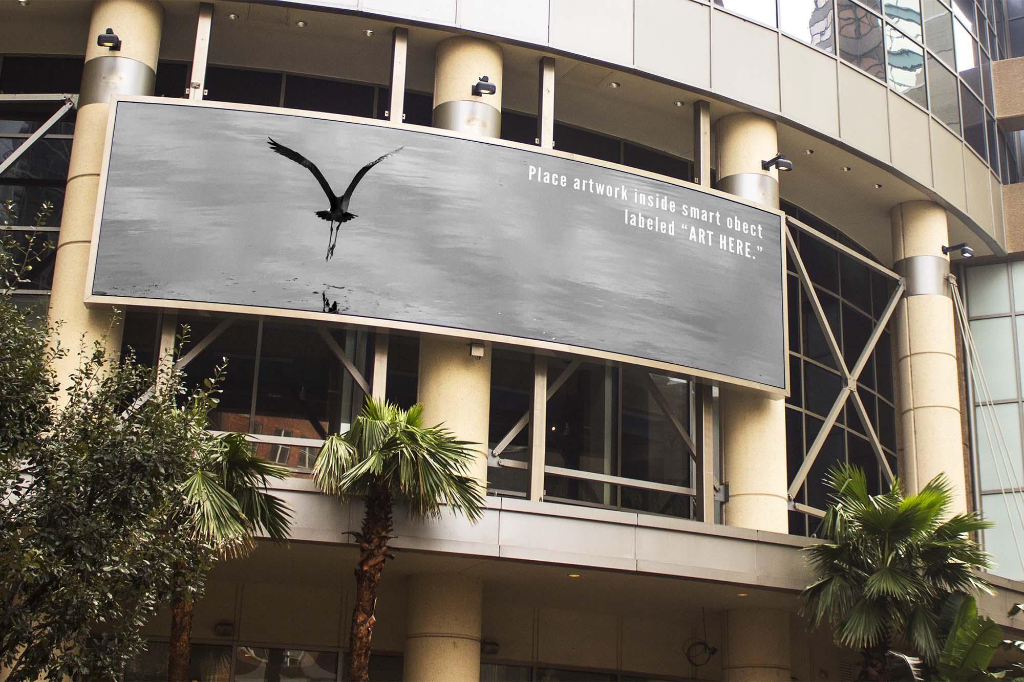 Curved Building Billboard Mockup