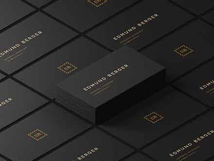 Dark Isometric Business Cards Mockup