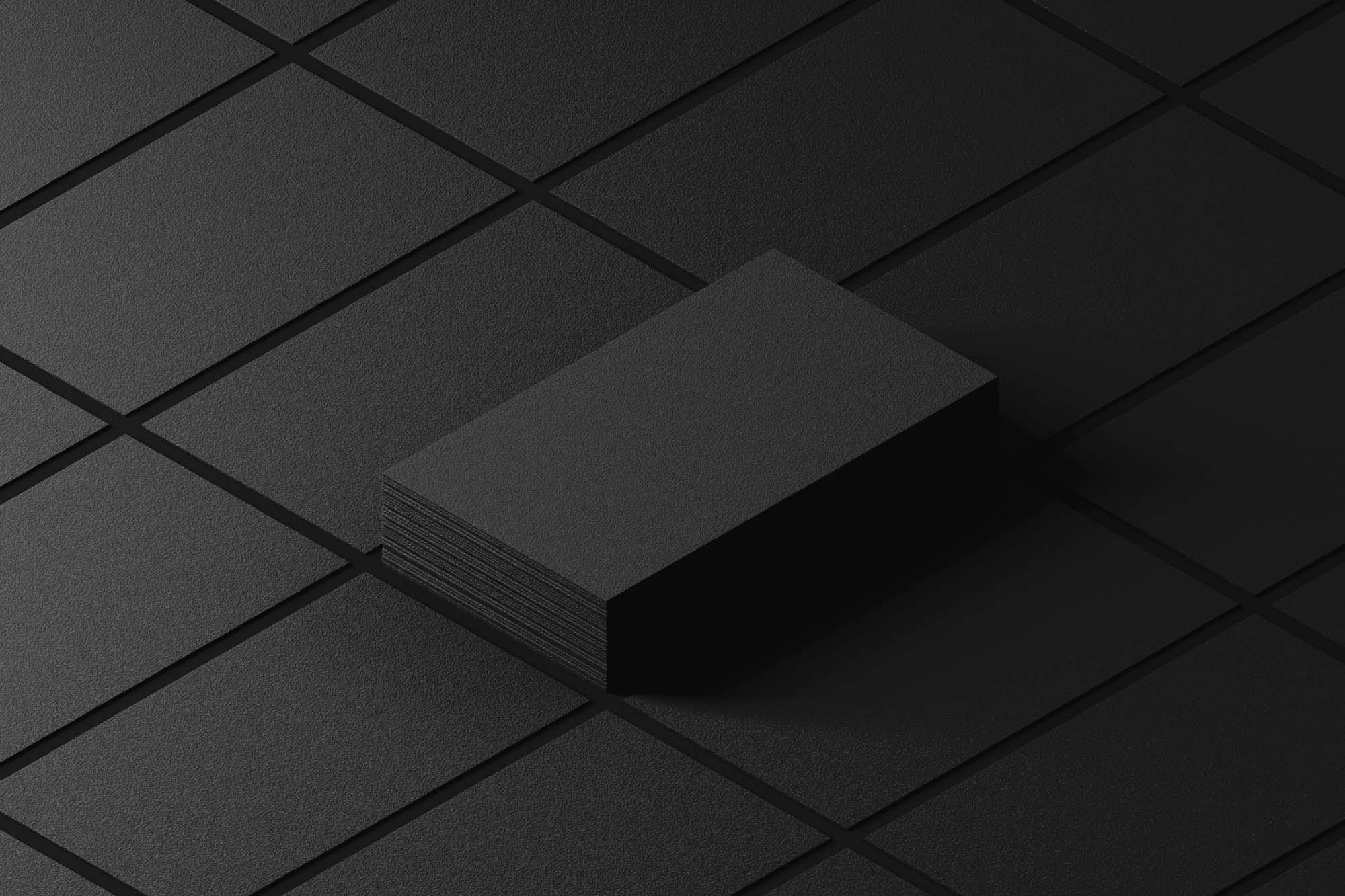 Dark Isometric Business Cards Mockup 2