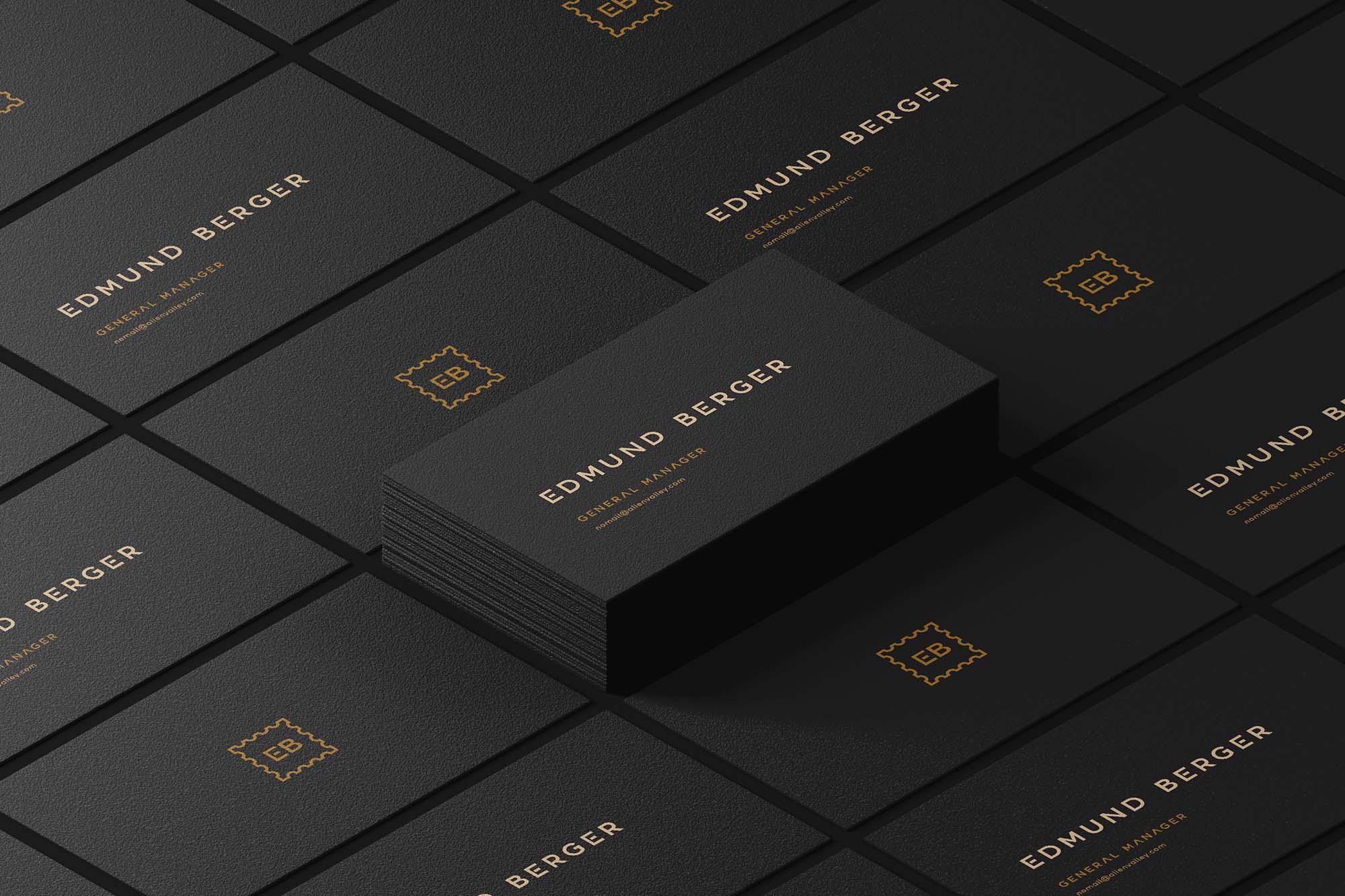 Dark Isometric Business Cards Mockup
