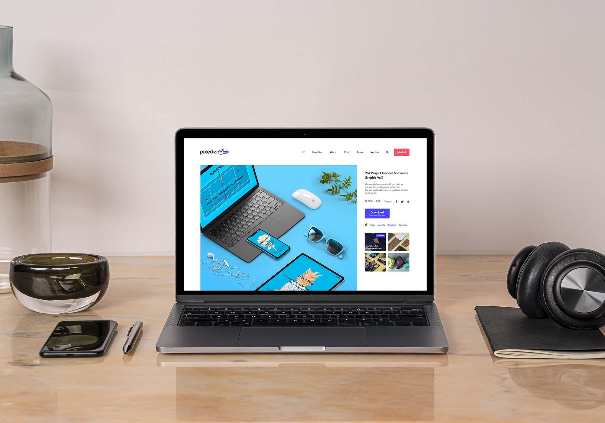 Desk MacBook Pro Mockup