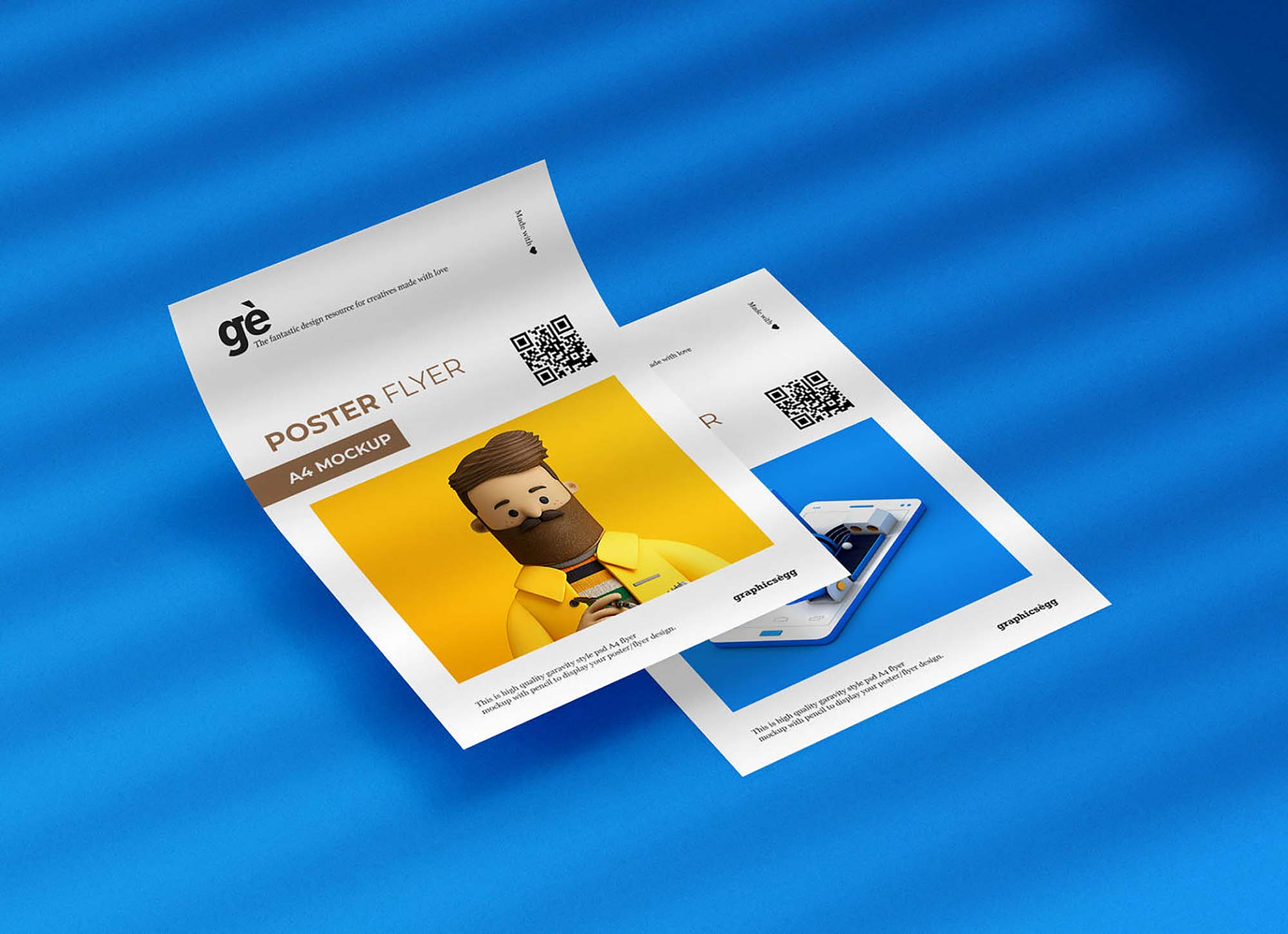 Double A4 Flyer Poster Mockup