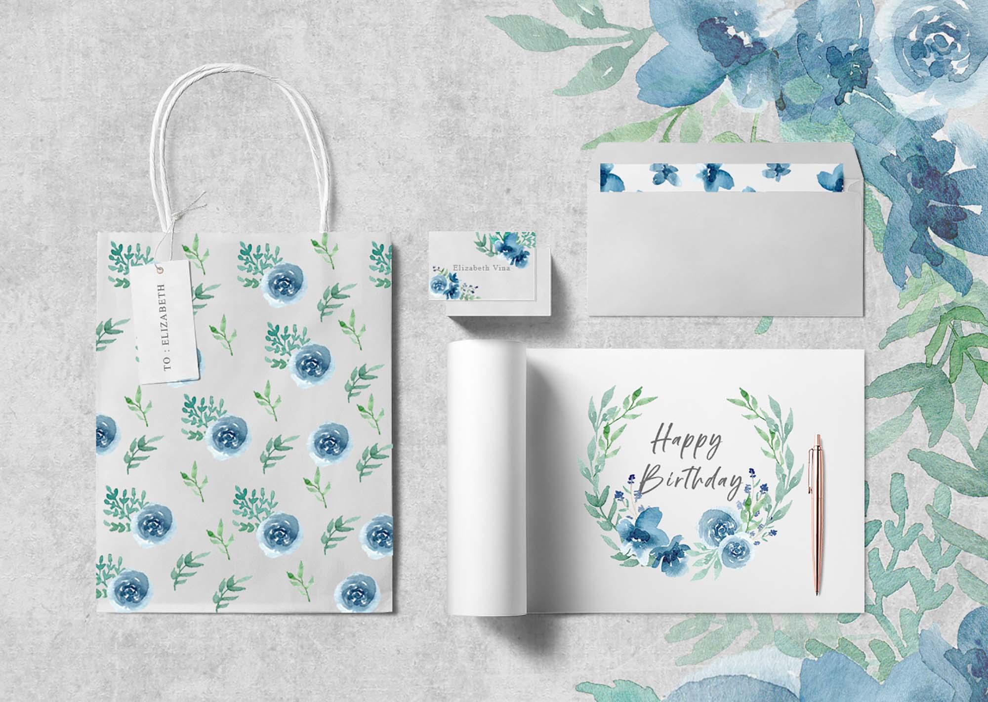Floral Watercolor Design Elements 6