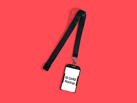 ID Card Attached to a Strap Mockup