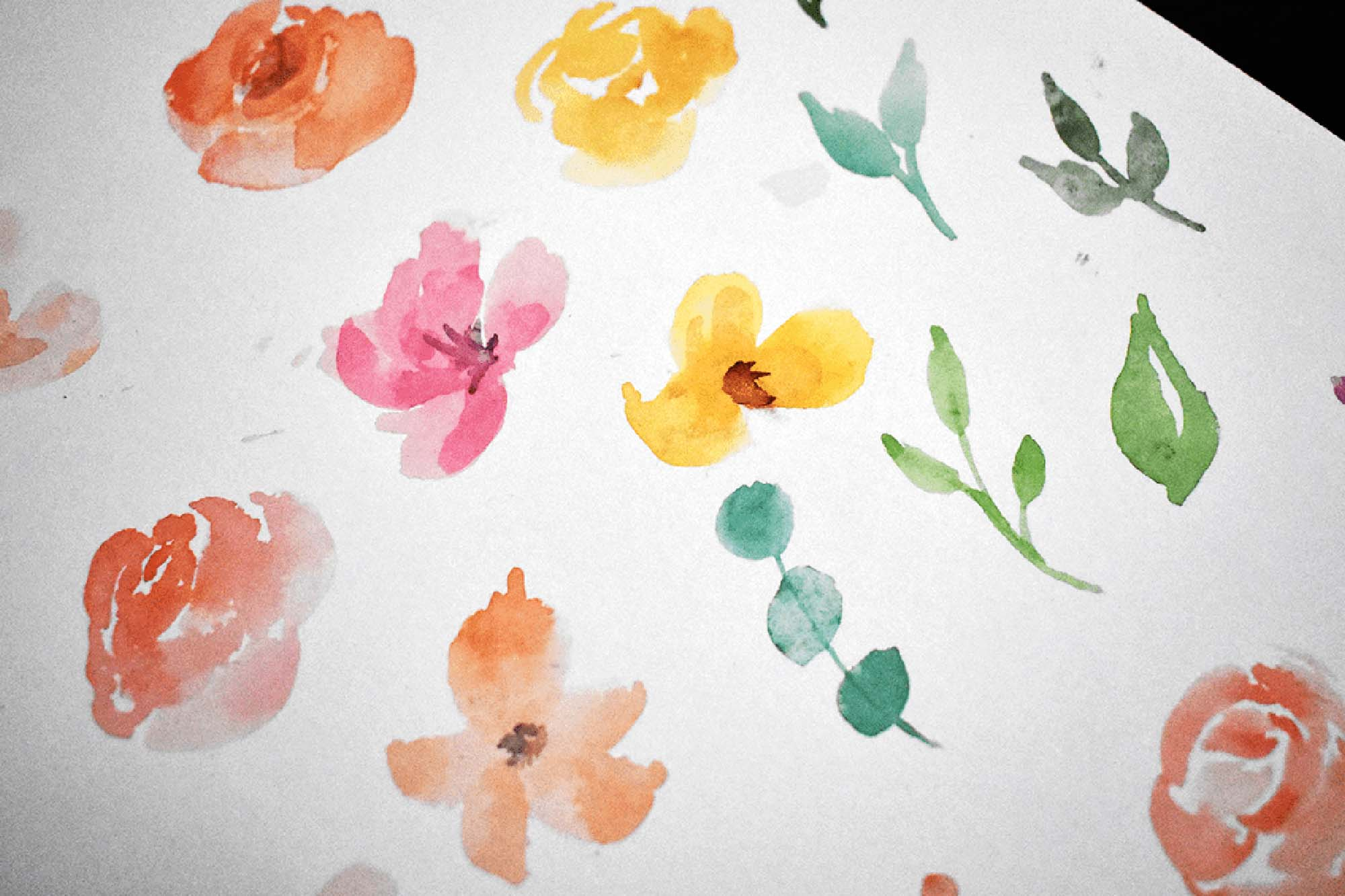Pastel Blooms Watercolor Clipart 1