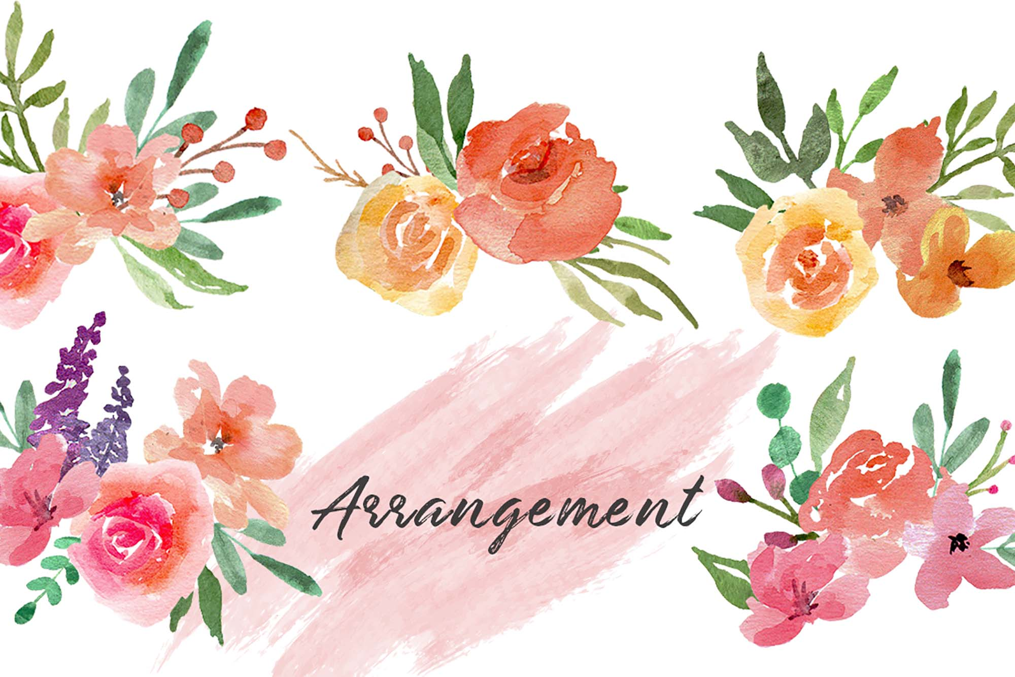Pastel Blooms Watercolor Clipart 3