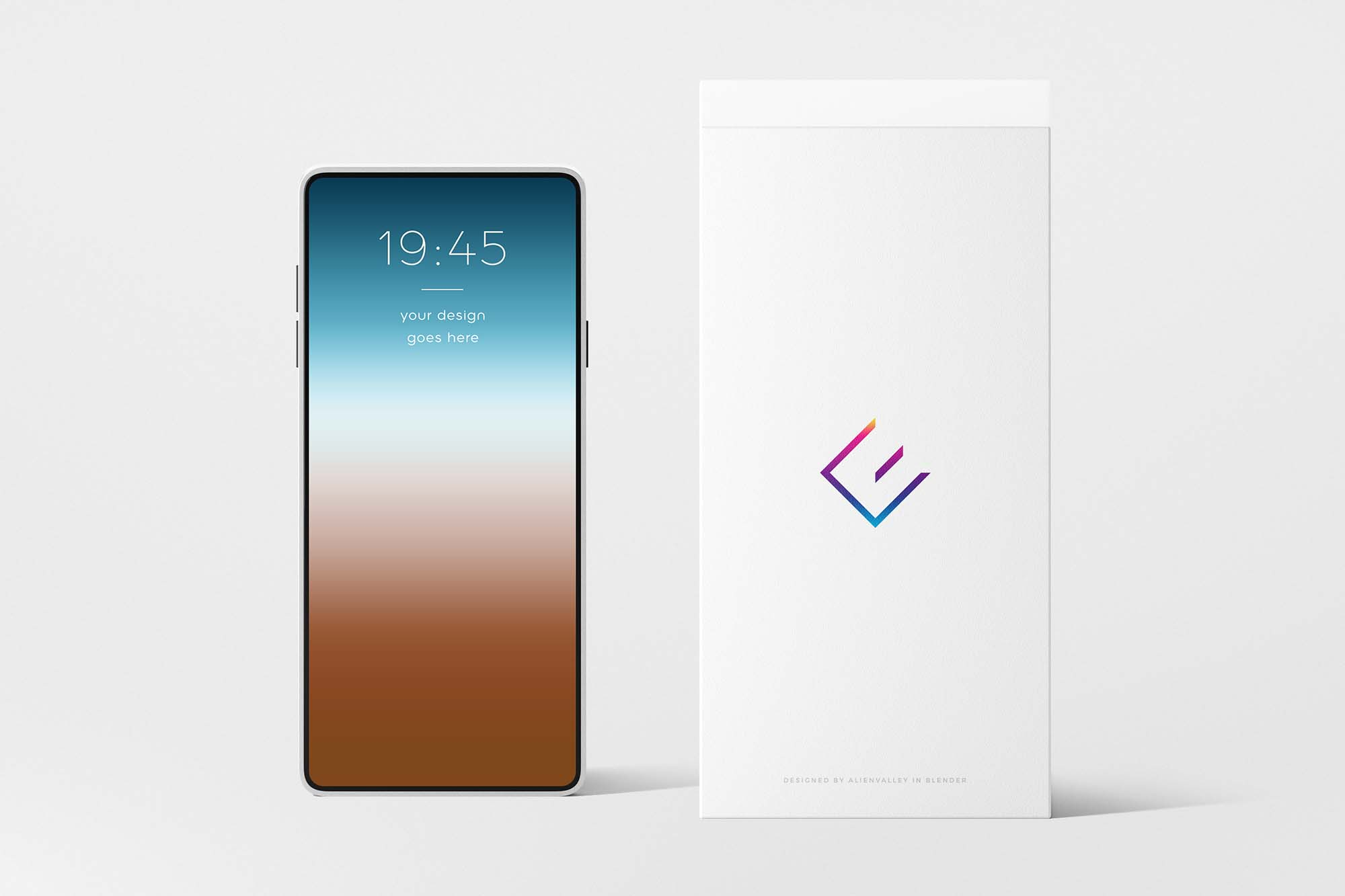 Phone With Box Mockup