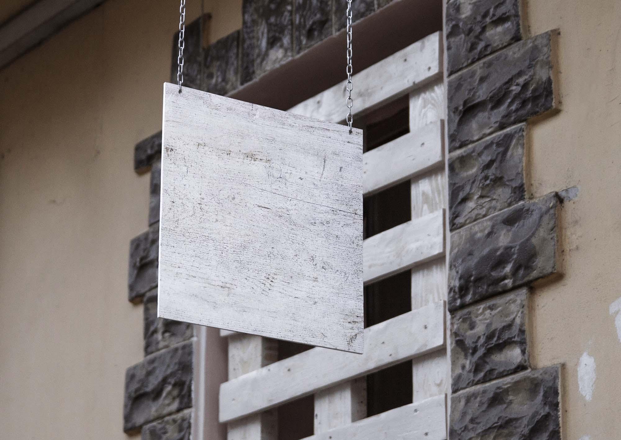 Wooden Hanging Wall Sign Mockup 2