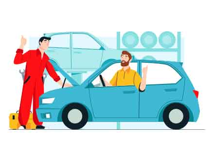 Car Fixing Vector Illustration
