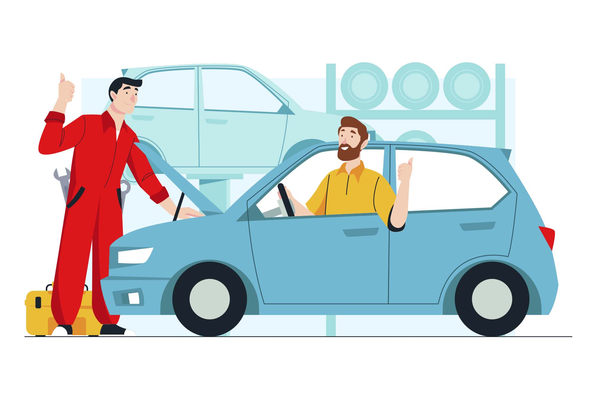 Car Fixing Vector Illustration