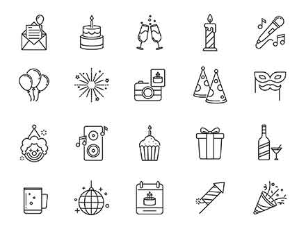 Celebration & Party Vector Icons