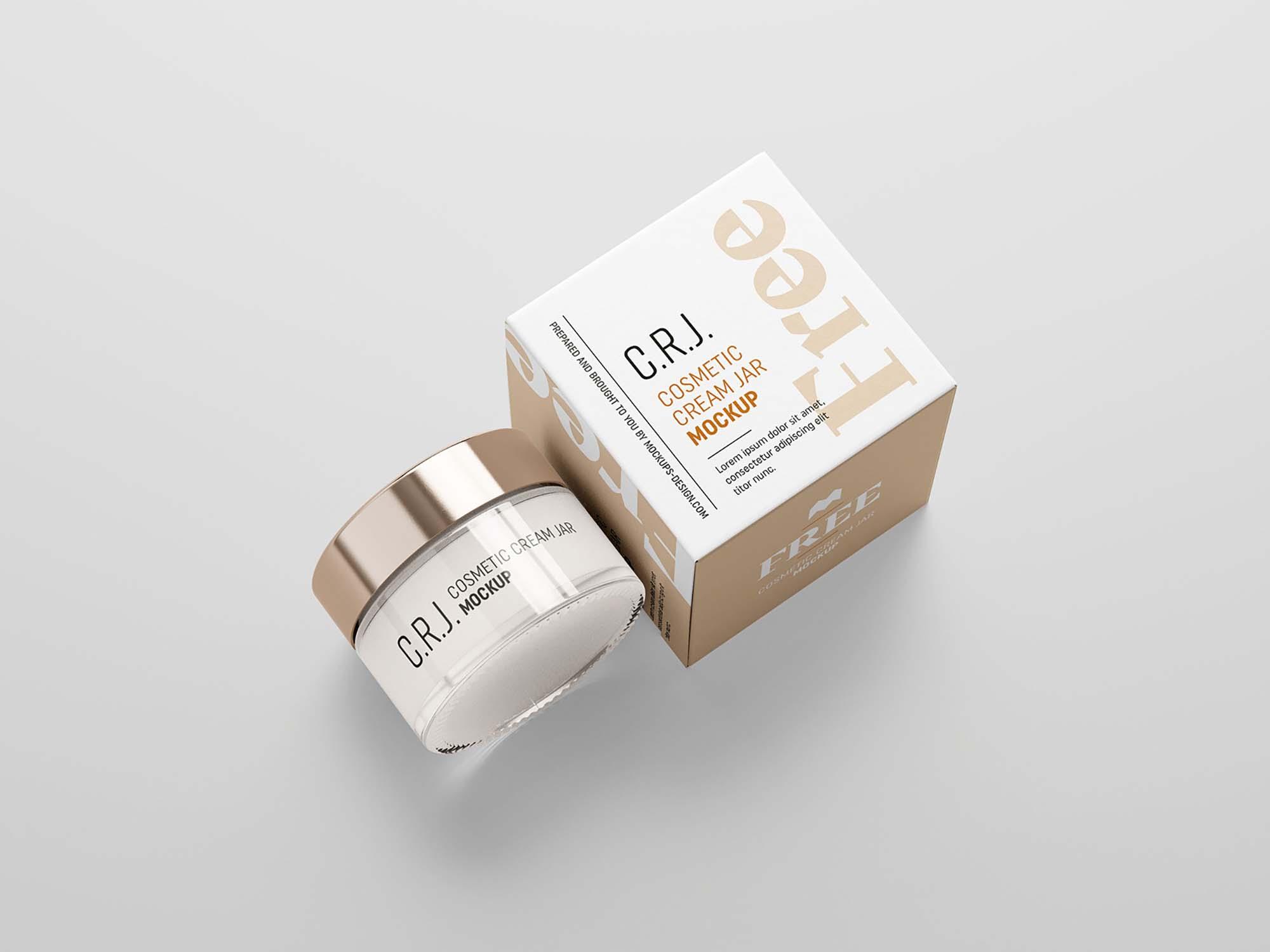 Cosmetic Box with Jar Mockup