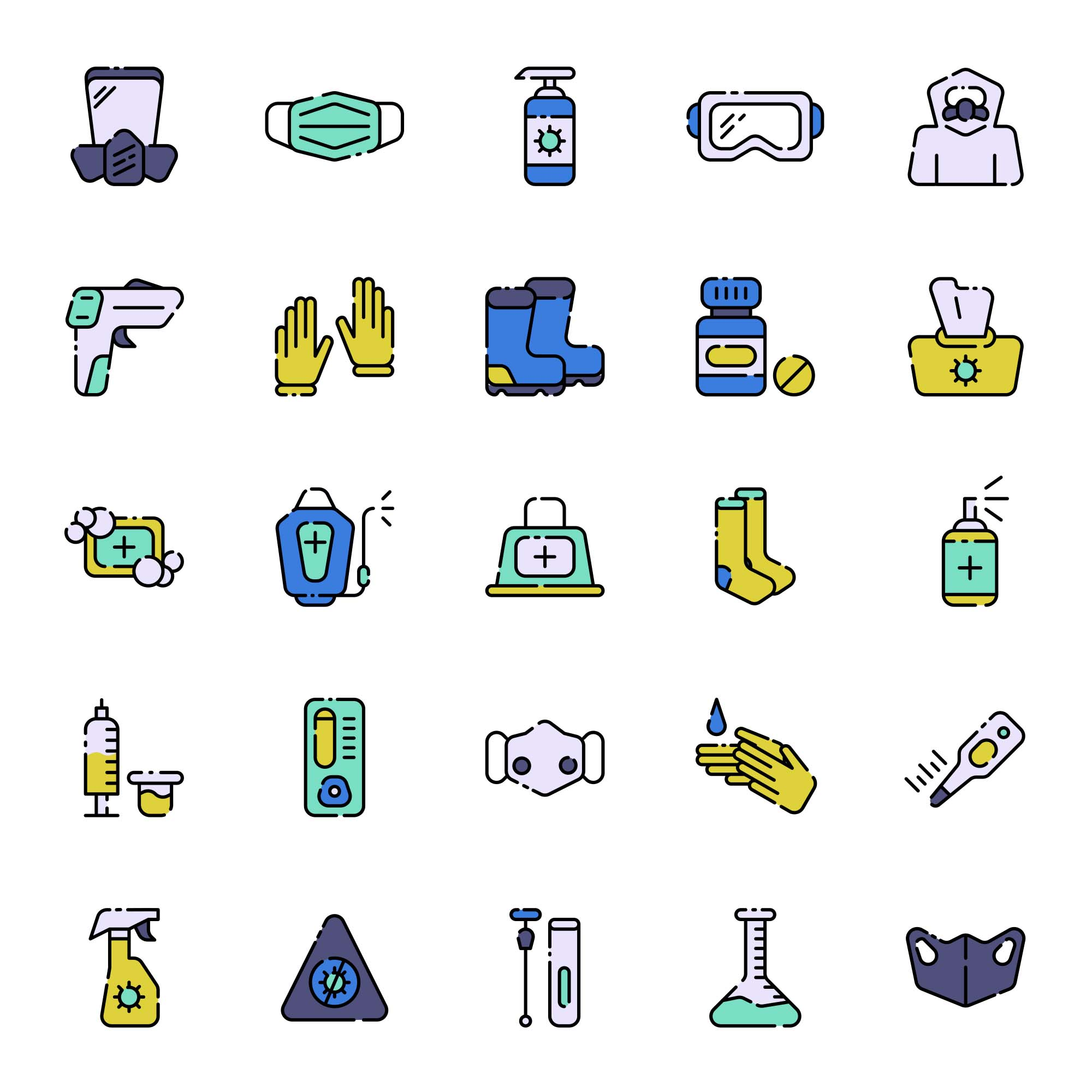 Covid-19 Protection Equipment Icons