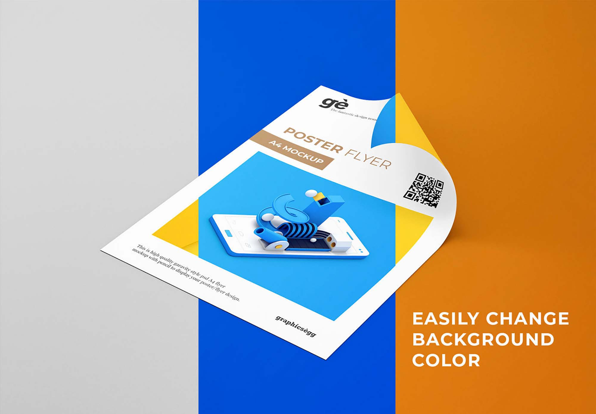 Curly Paper Flyer Mockup 3