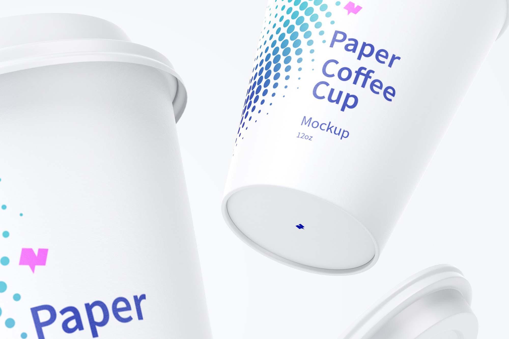 Falling Paper Coffee Cups Mockup 2