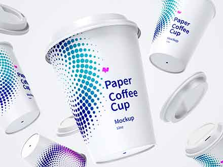 Falling Paper Coffee Cups Mockup