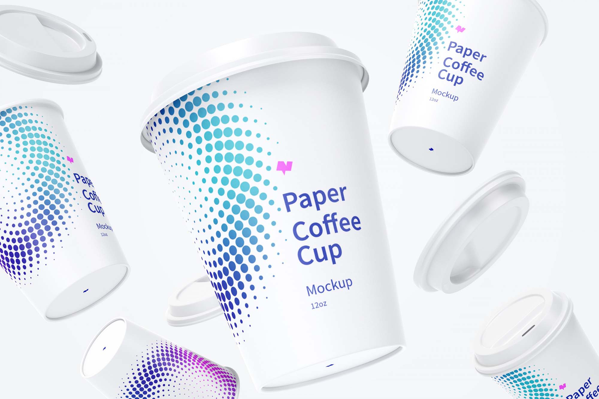 Falling Paper Coffee Cups Mockup