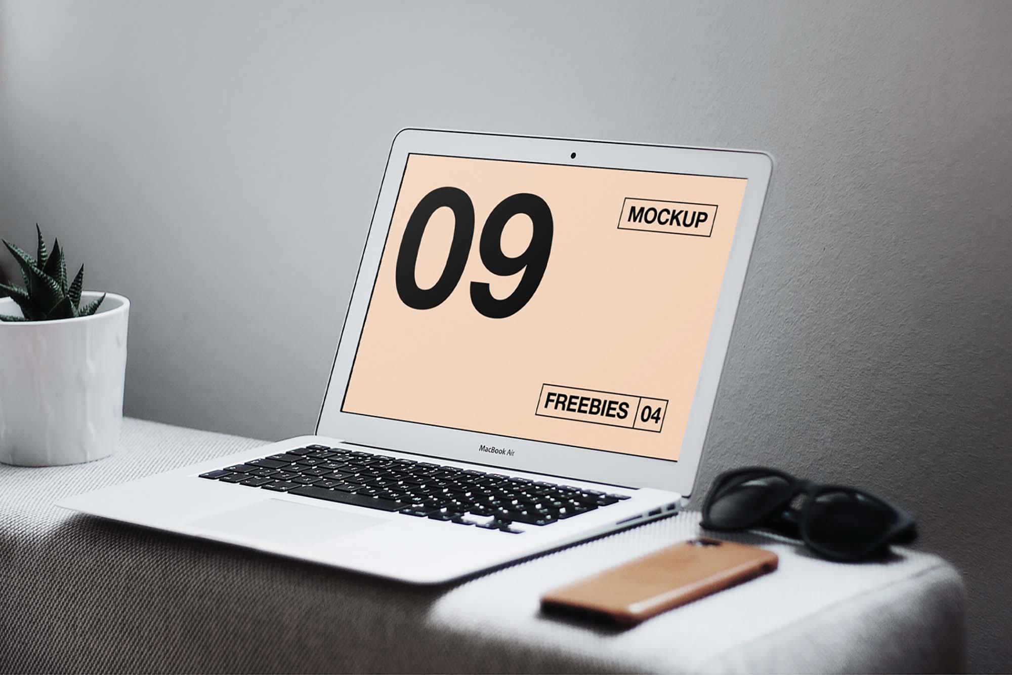 MacBook Air on Table Mockup
