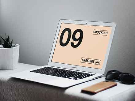 MacBook Air on Table Mockup