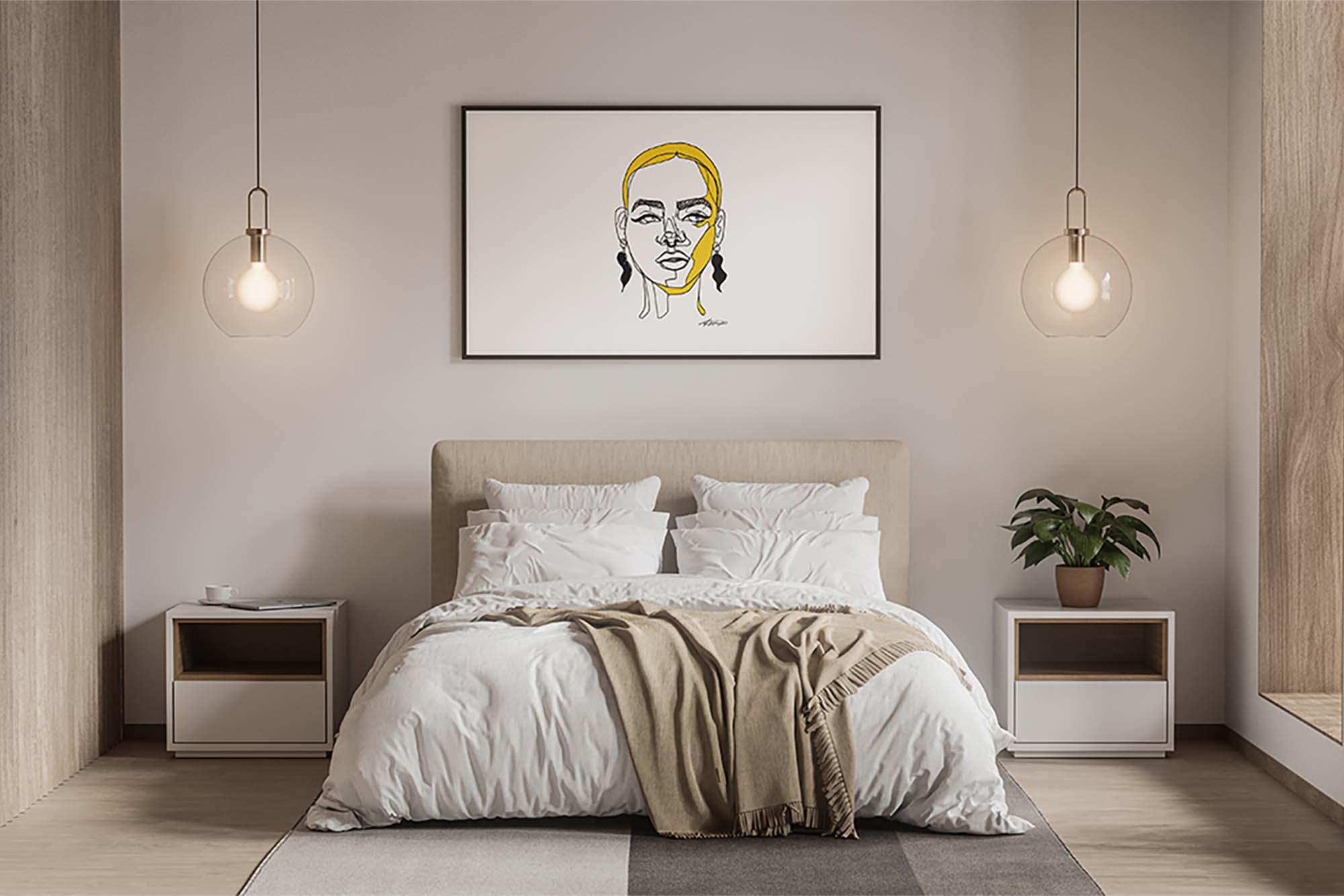 Modern Poster in Bedroom Mockup