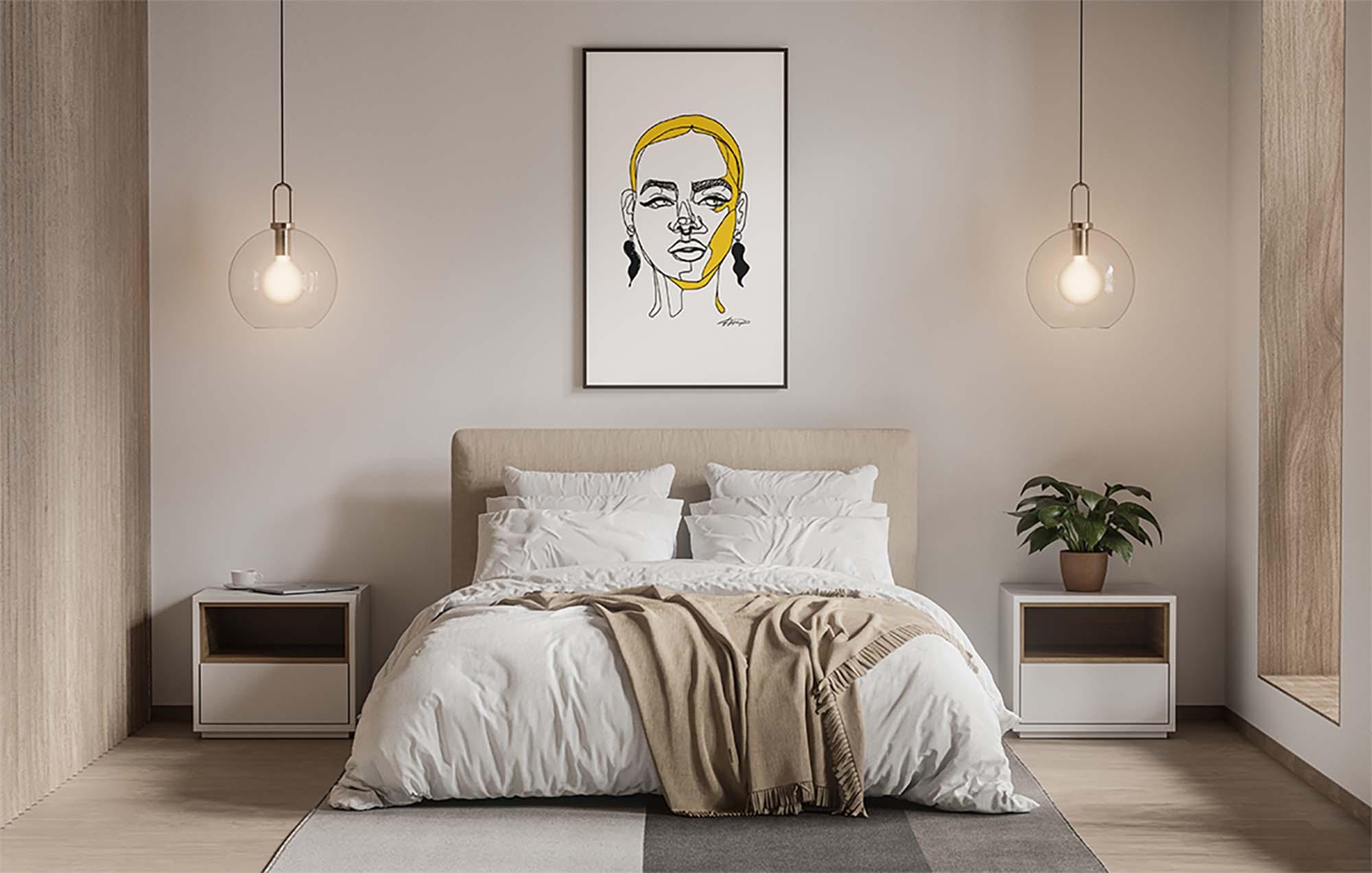 Modern Poster in Bedroom Mockup 2
