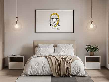 Modern Poster in Bedroom Mockup