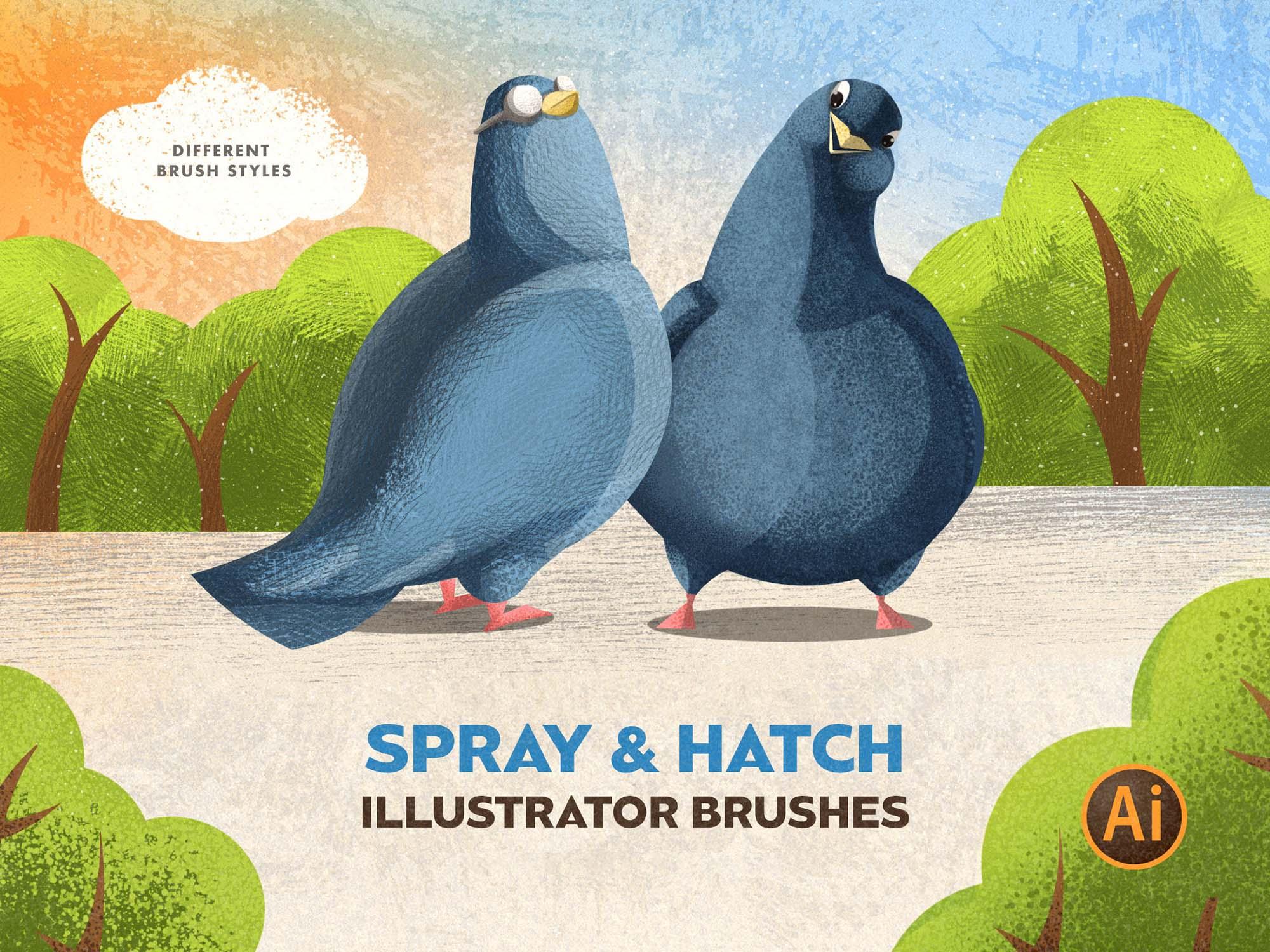 Spray & Hatch Illustrator Brushes