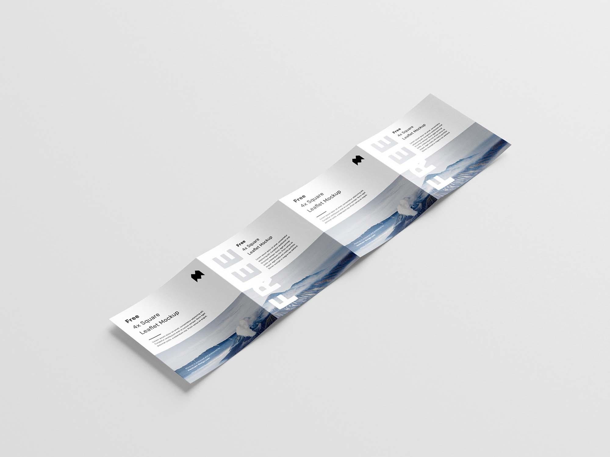 Square 4-Fold Leaflet Mockup 4