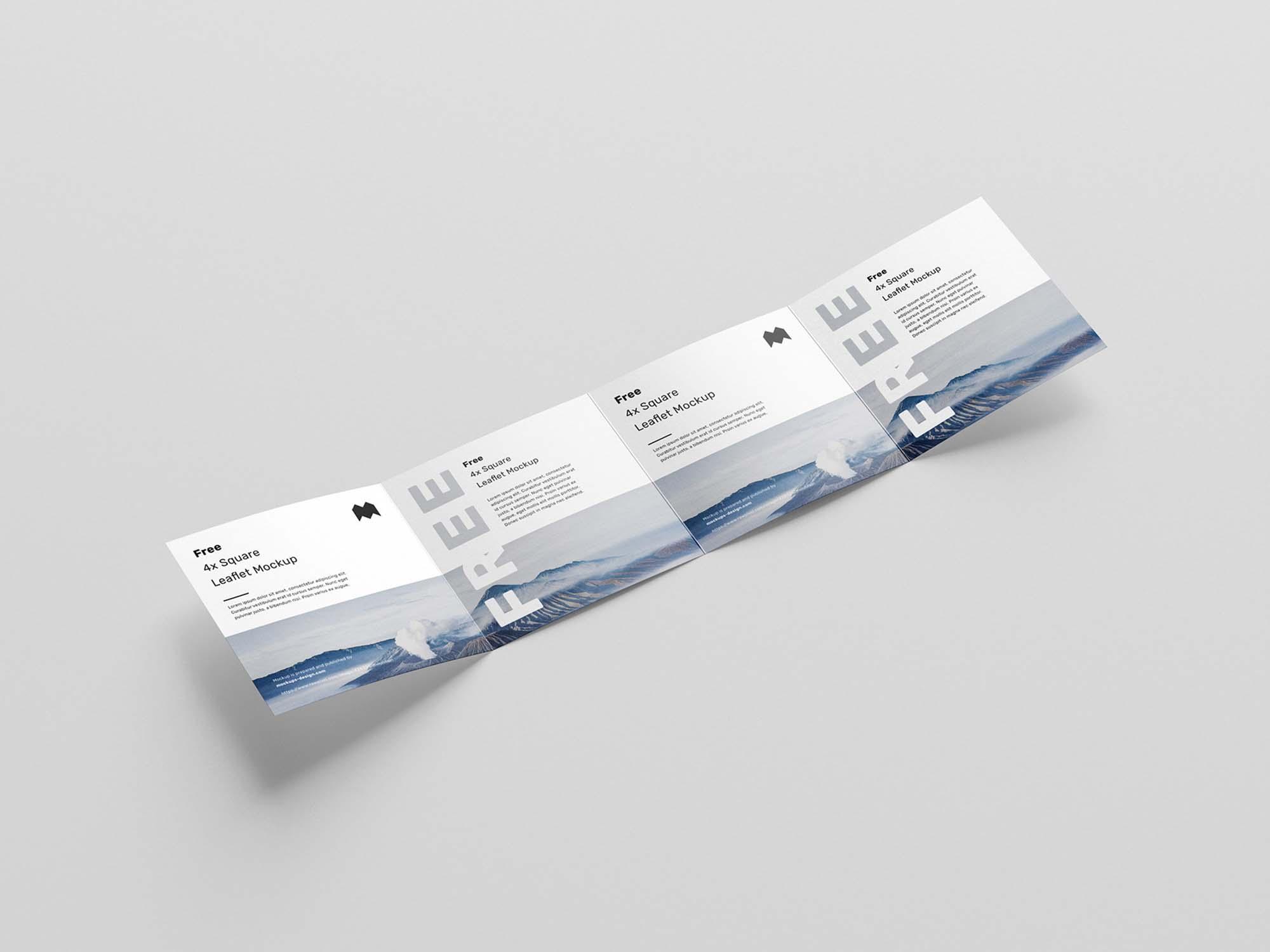 Square 4-Fold Leaflet Mockup