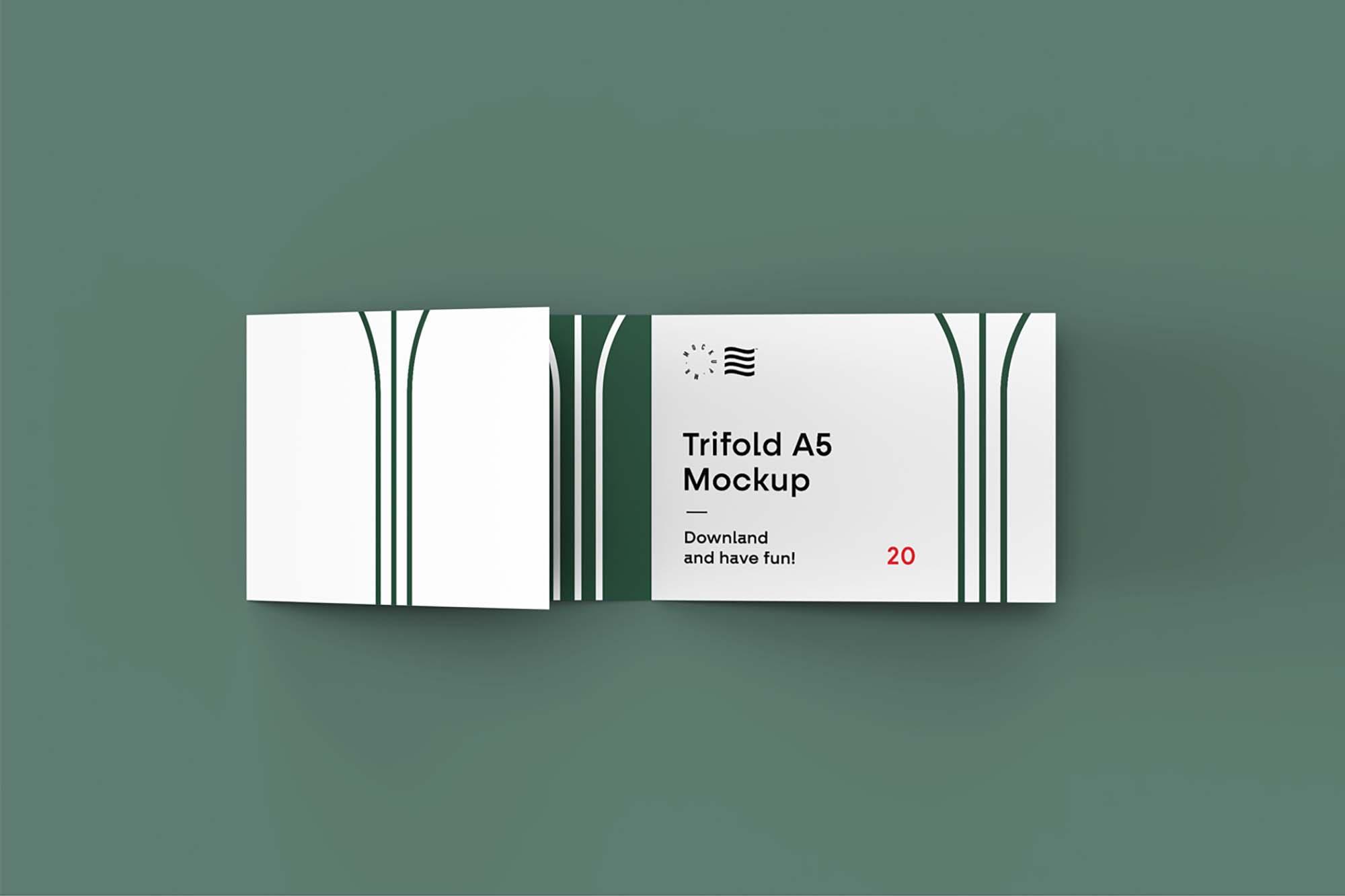 Trifold Landscape Brochure Mockup