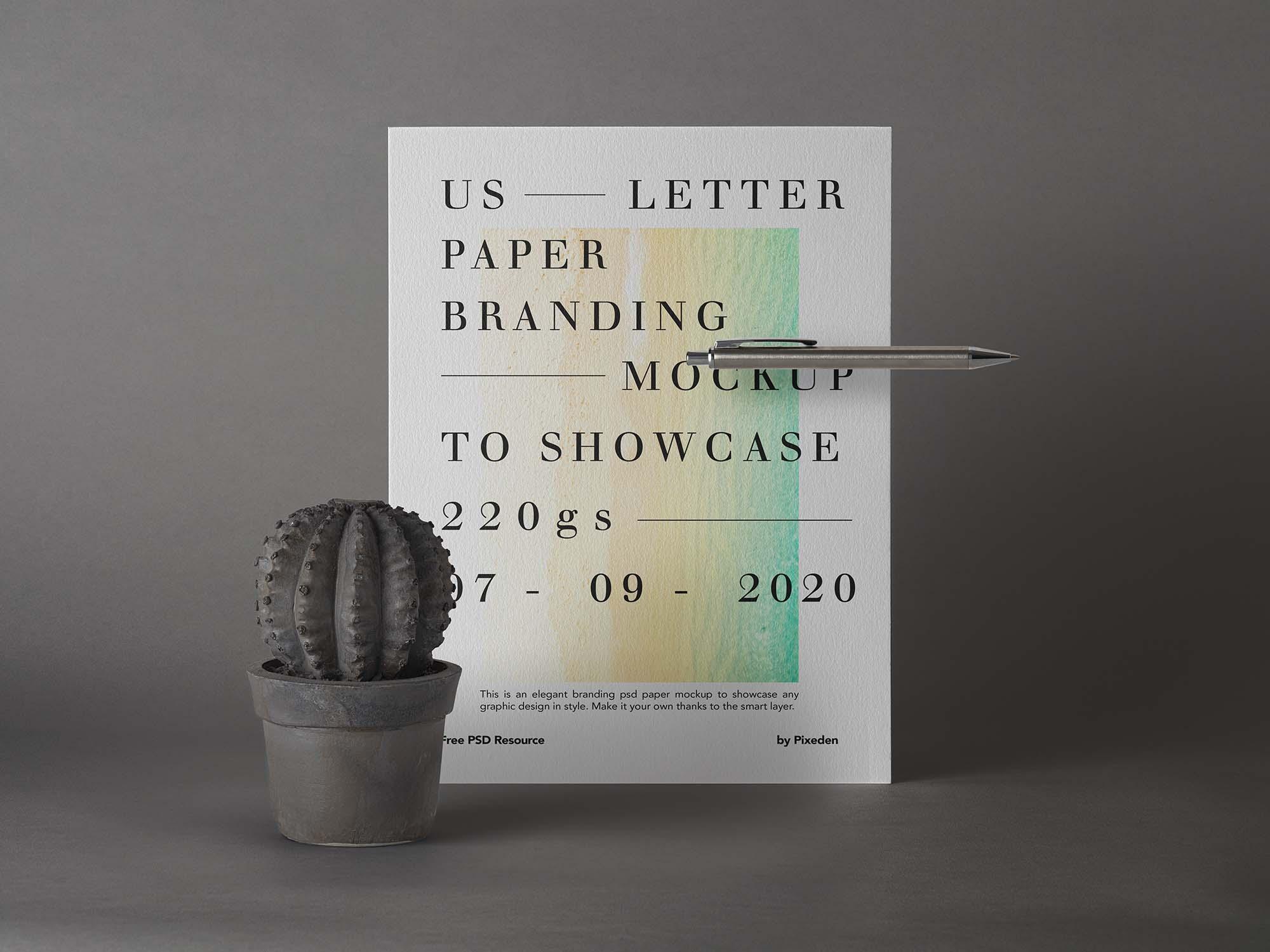 US Letter Brand Paper Mockup