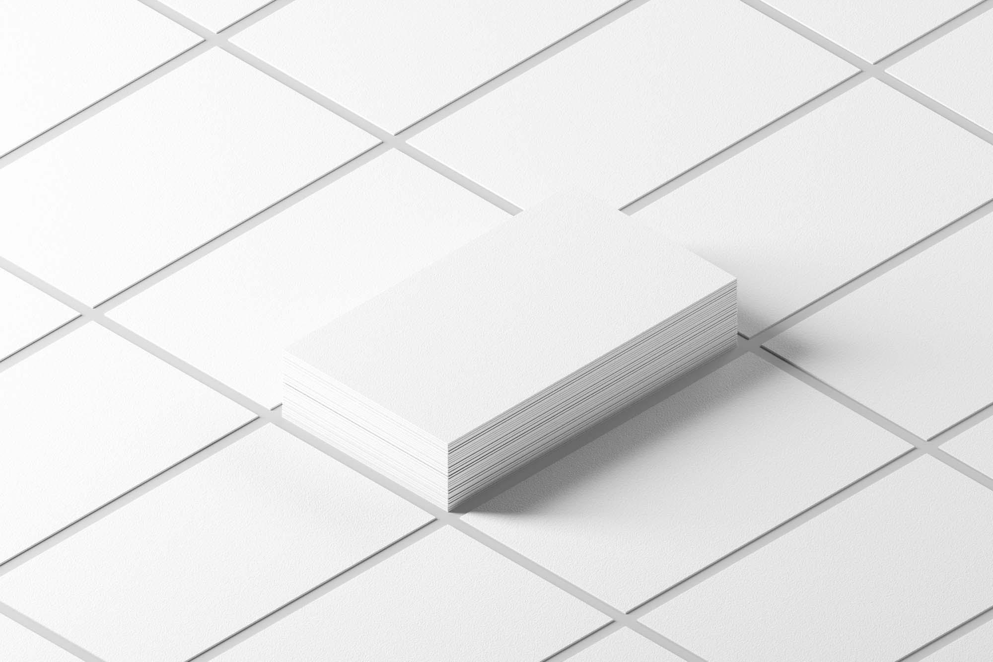 White Isometric Business Cards Mockup 2