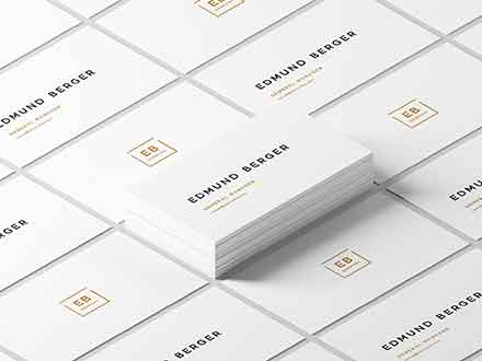 White Isometric Business Cards Mockup