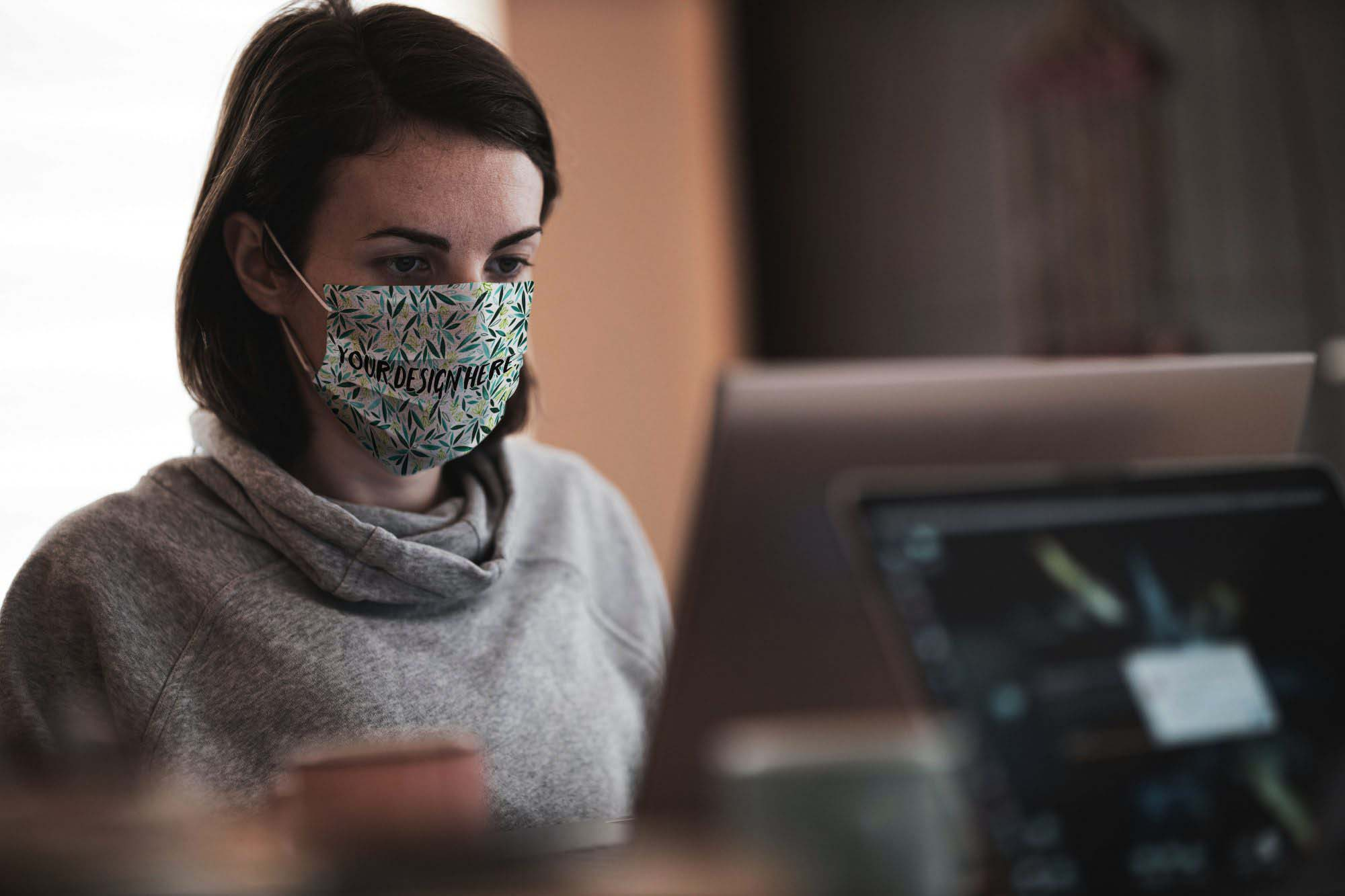 Working in Face Mask Mockup