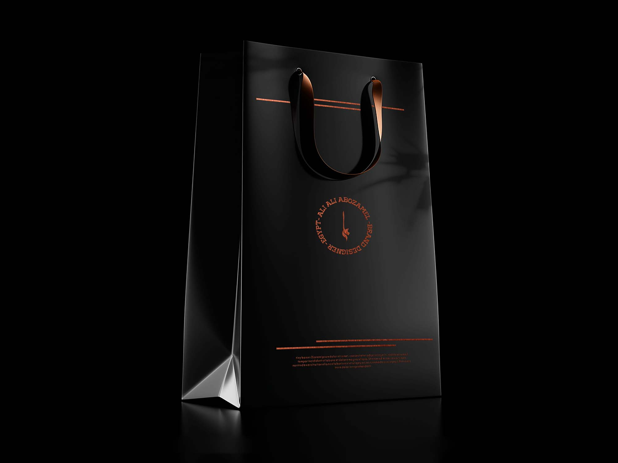 Black Bag Box with Label Mockup