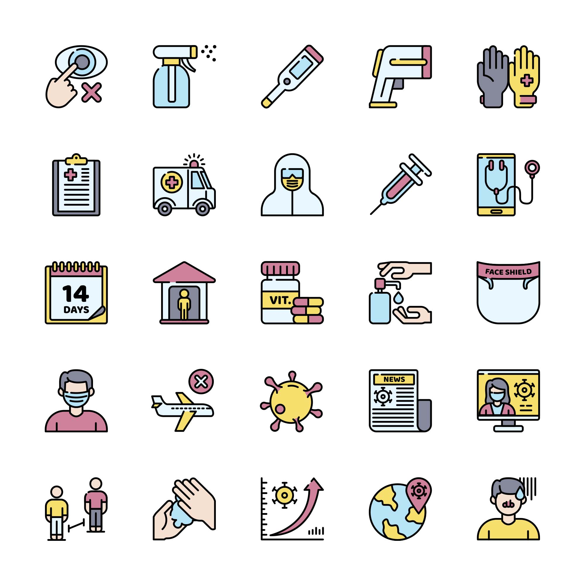 COVID-19 Protection Measures Vector Icons