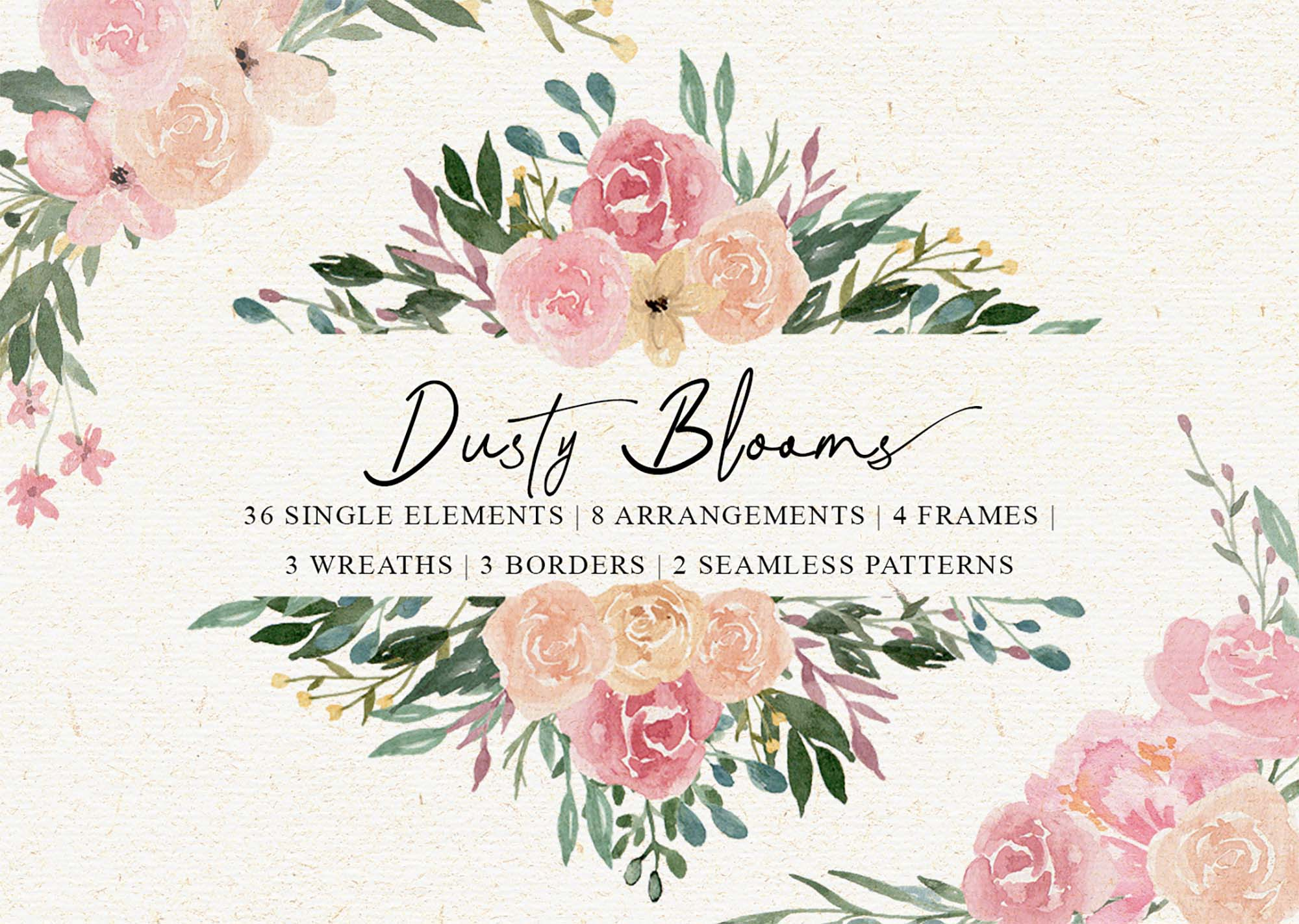 Dusty Blooms Watercolor Graphic Illustrations