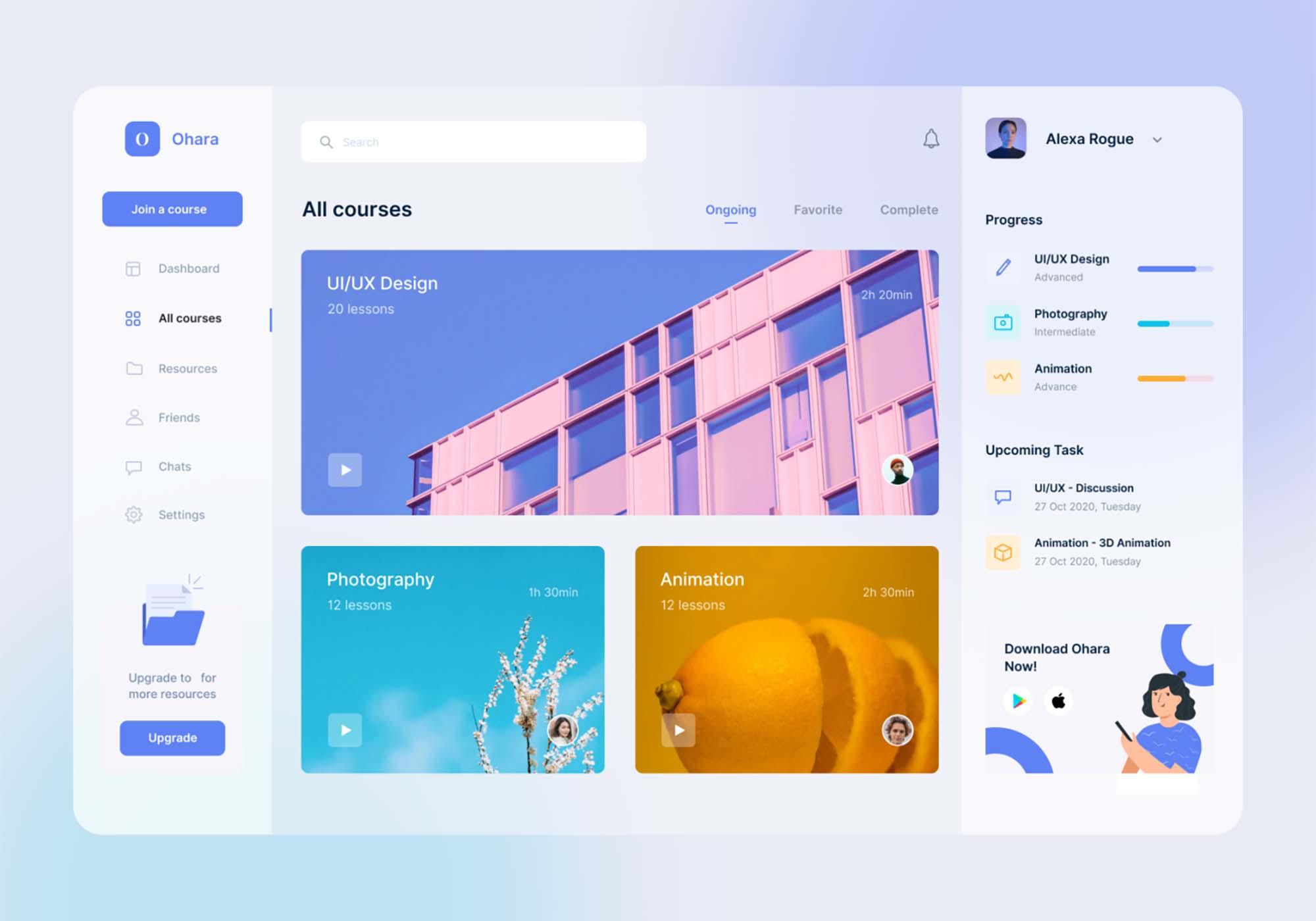 E-course Dashboard UI Template